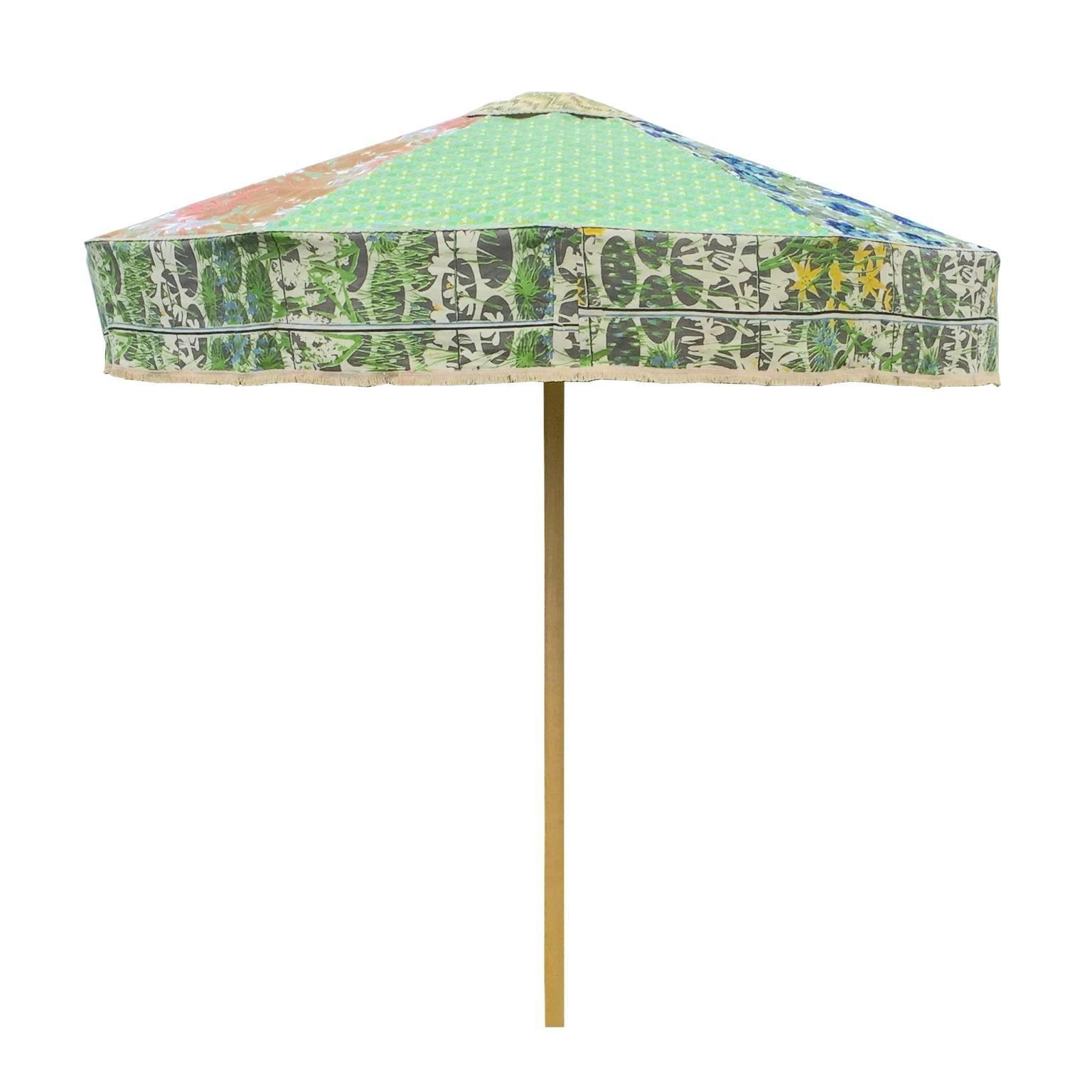 Designer Sun Umbrella Patio Parasol In Floral Geometric