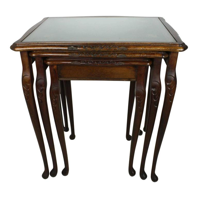 English Nesting Tables With Gilt Leather Tops Circa 1930