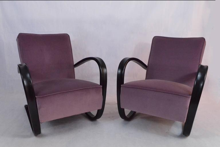 J Halabala Chairs 1930s Velvet Covers For Sale At 1stdibs