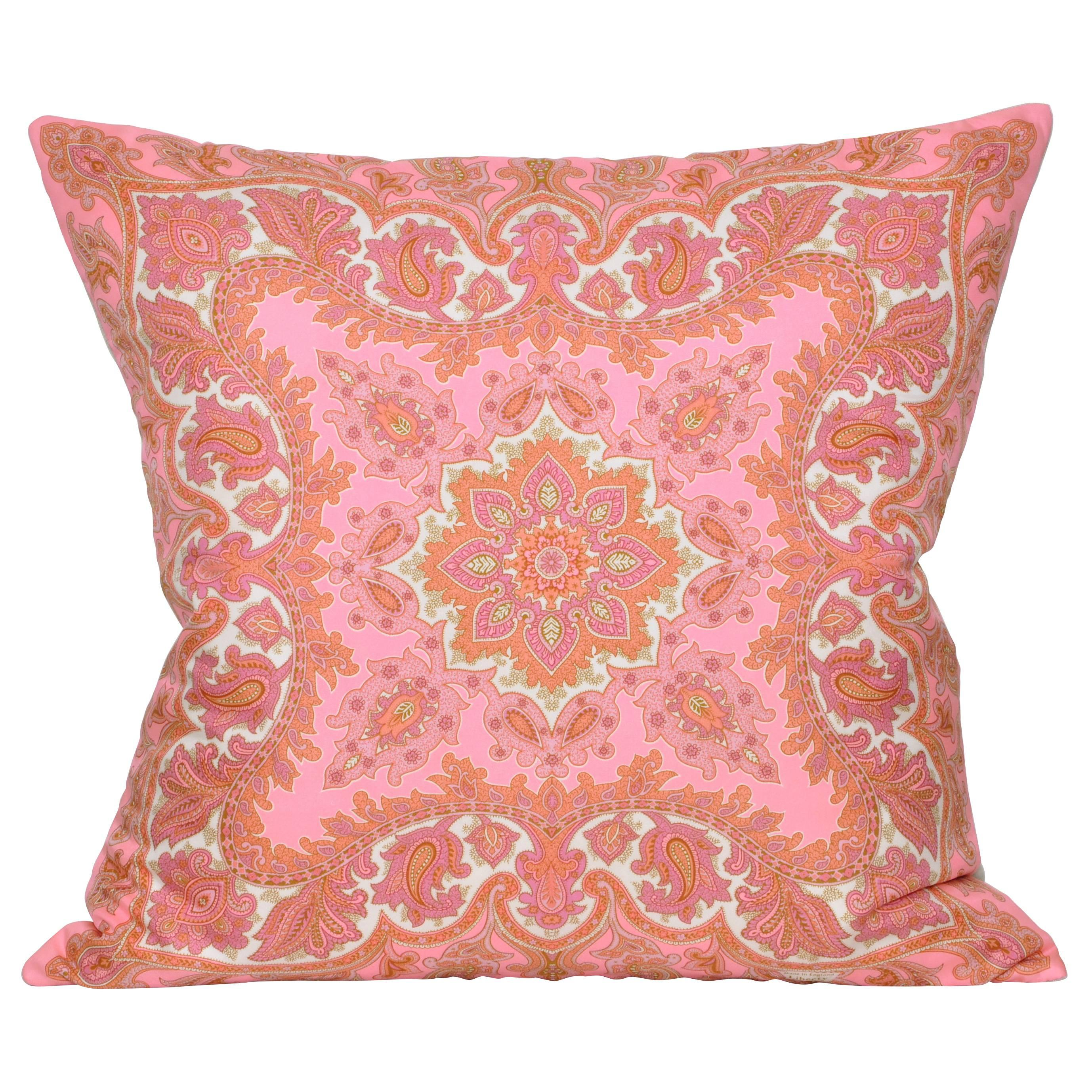 Sofa Throws Retro Hot Pink Bright Orange Retro Floral Vintage Geometric Fabric Cushion Collection