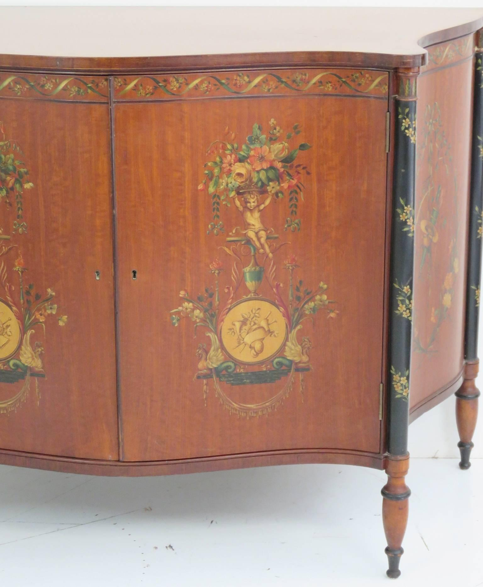 Vintage Sideboard Yorkshire Adams Style Paint Decorated Two-door Cabinet For Sale At
