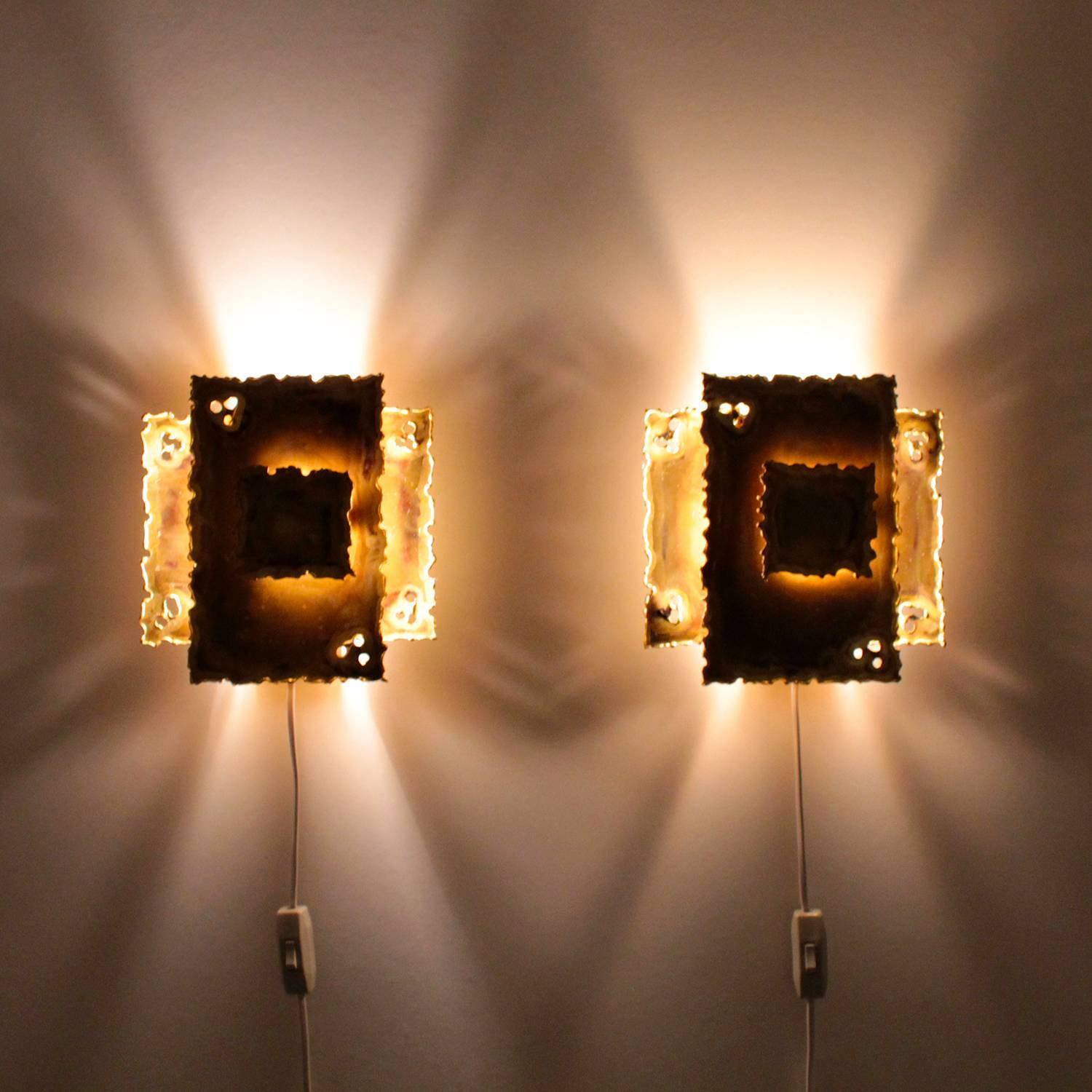 Eclectic Wall Sconces Brass Wall Lamps Pair By Holm Sorensen 1960s Danish