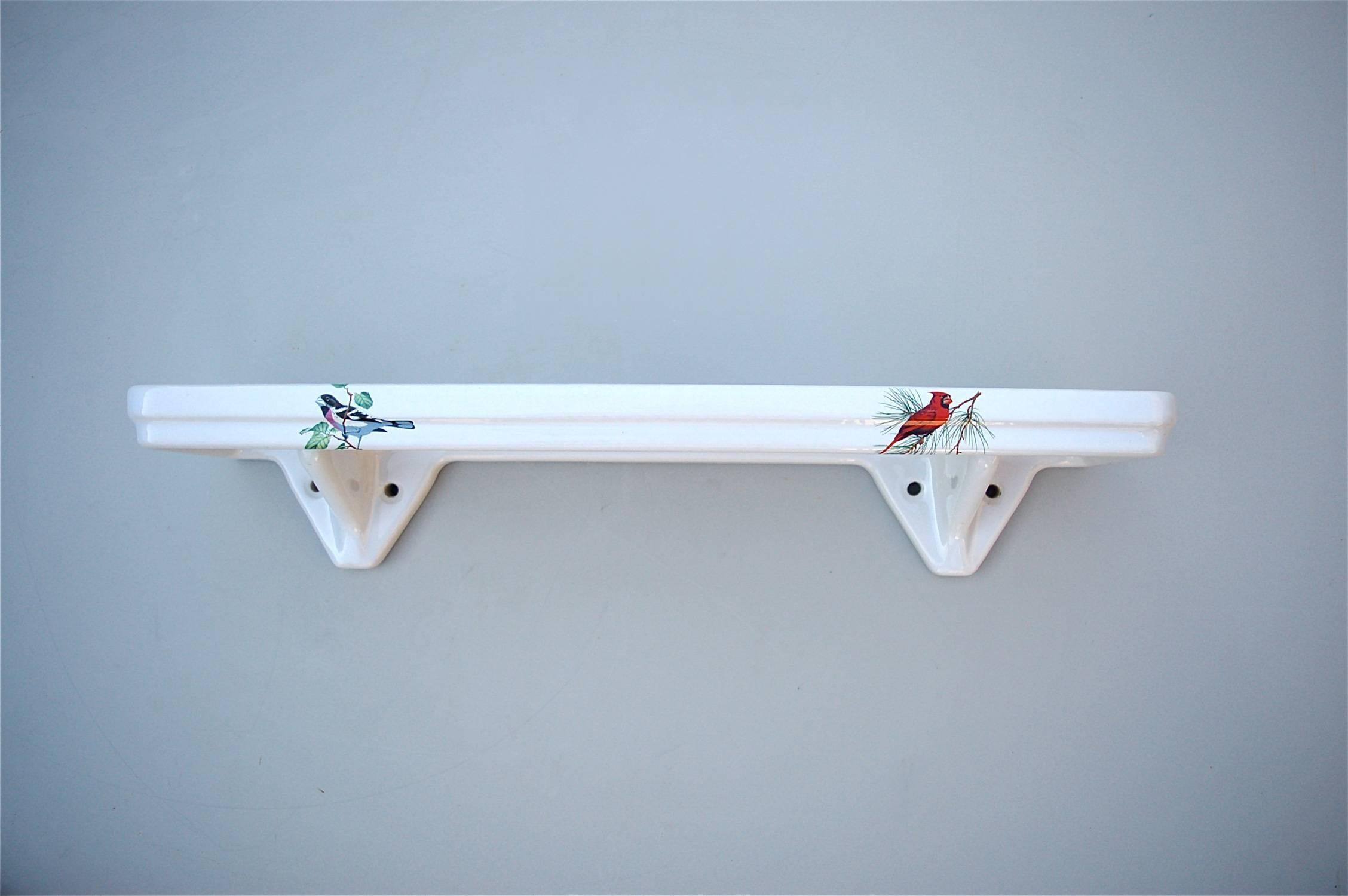 Porcelain Bathroom Vanity Shelf With Bird Decoration