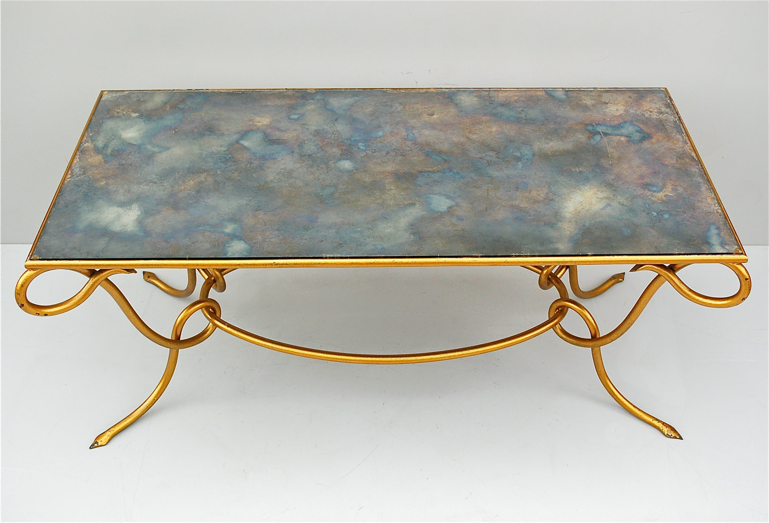 Metal Coffee Table Gilt Coffee Table With Original Iridescent Mirrored Top By René Drouet