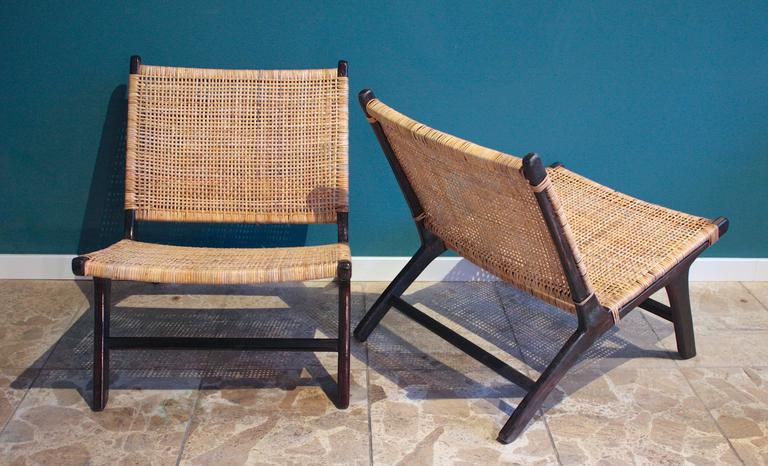 Pair Of Scandinavian Rattan Lounge Chair At 1stdibs