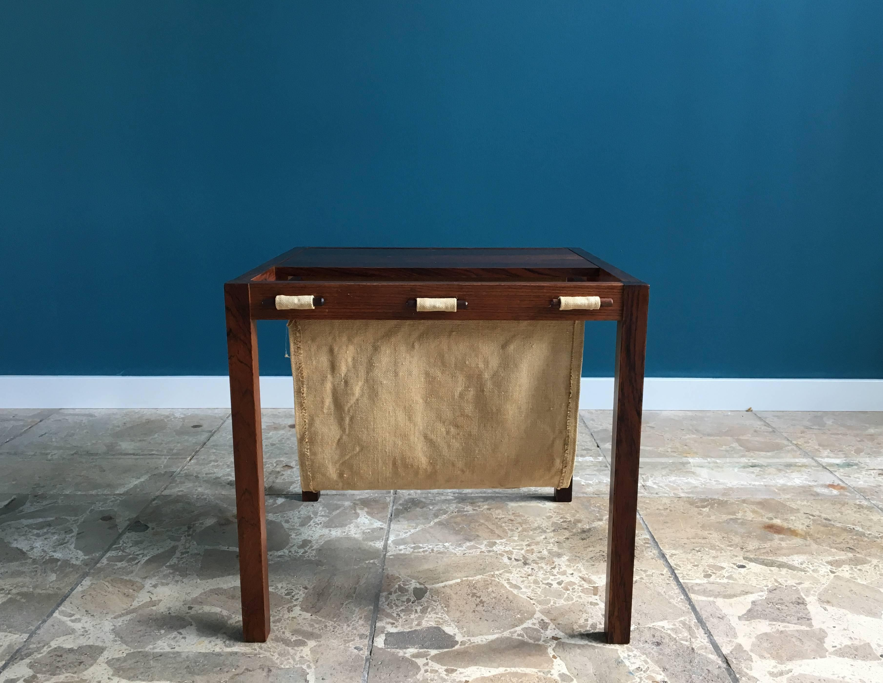 Vintage Rosewood Side Table With Magazine Rack Denmark
