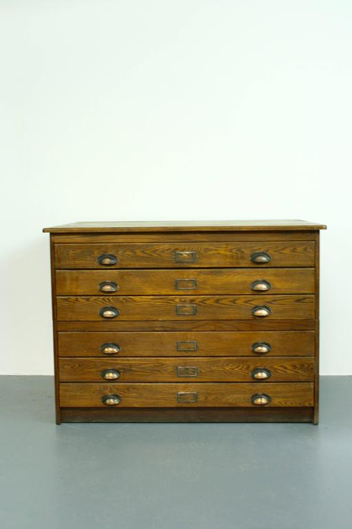 1930s Wooden Plan Chest Architect Drawers with Brass Handles at 1stdibs