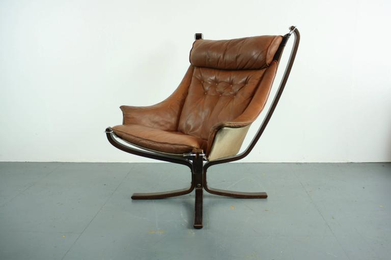 Vintage Tan Brown Leather High Back Winged Falcon Chair