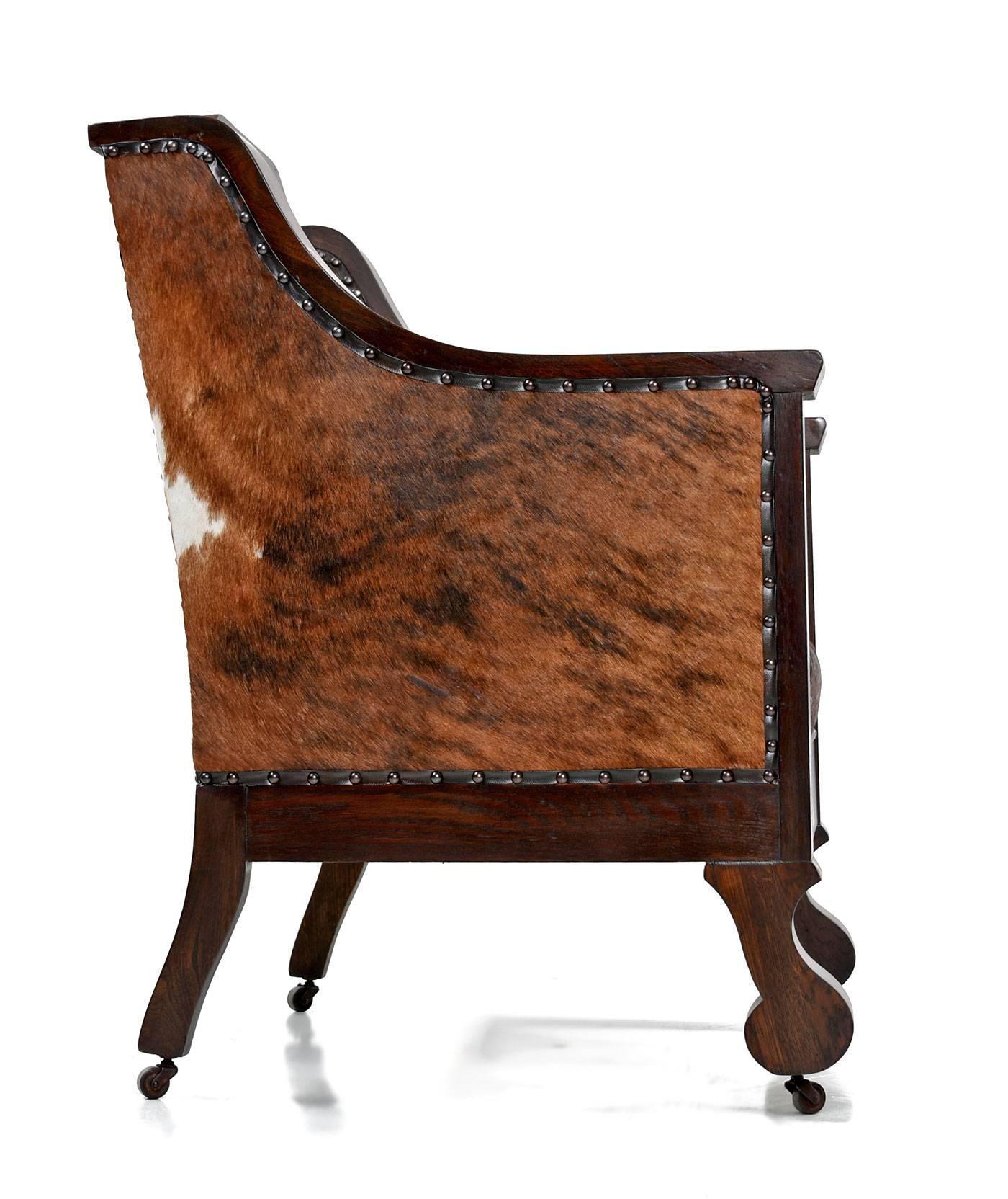 The Furnish Early 1800s Handmade Empire Style Leather Thrown Chair Re Invented In Cowhide