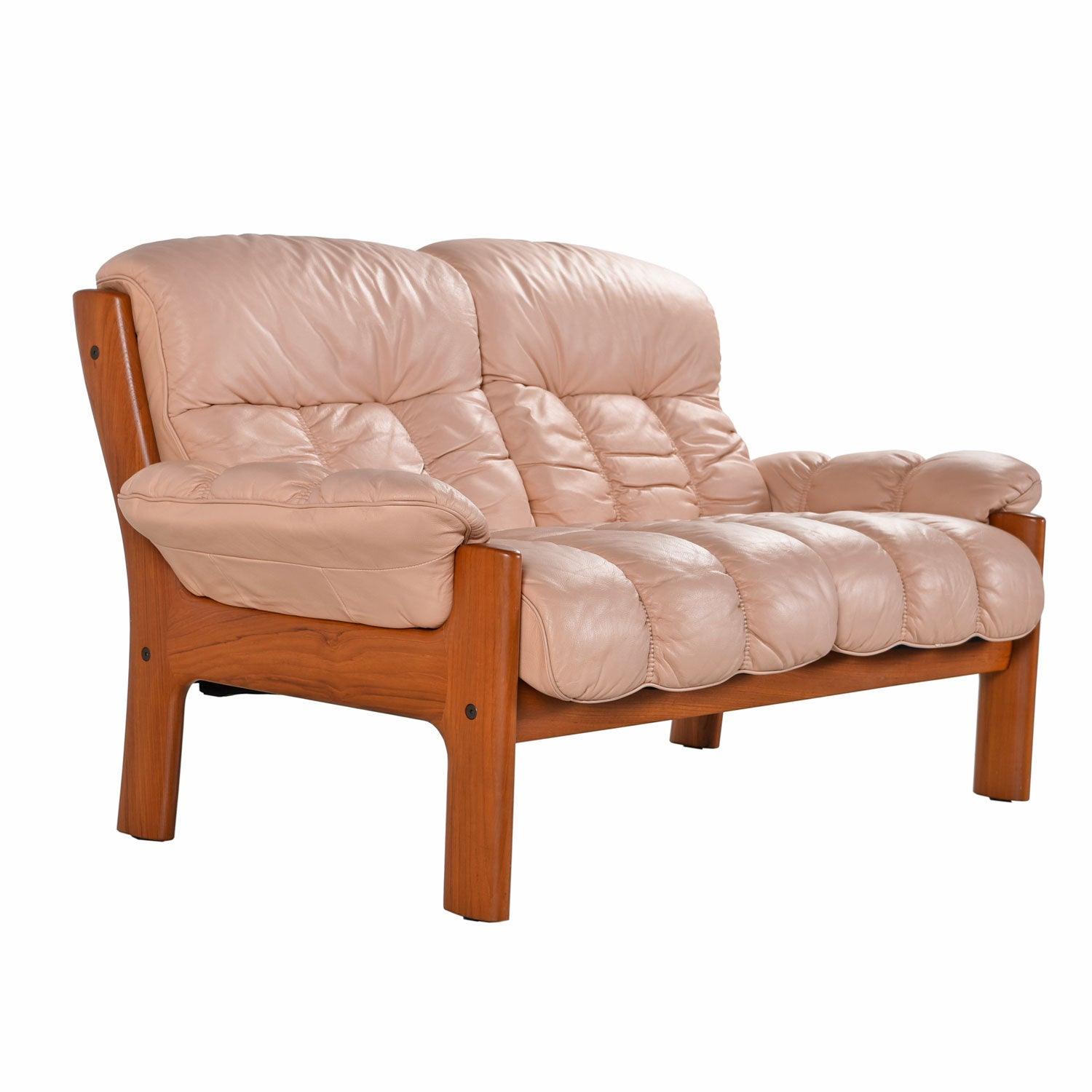 Stressless Sofa Dealers Ekornes Stressless Montana Solid Teak Loveseat Sofa In Pale Rose Leather