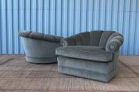 Pair of 1970s Barrel Back Tub Chairs on Rolling Casters at ...