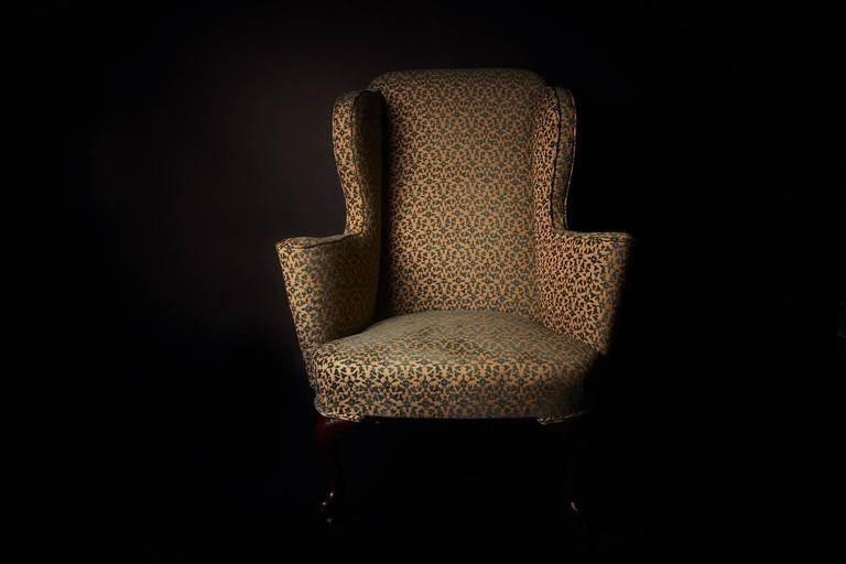 High Sided George Ii Mahogany Wingback Armchair With