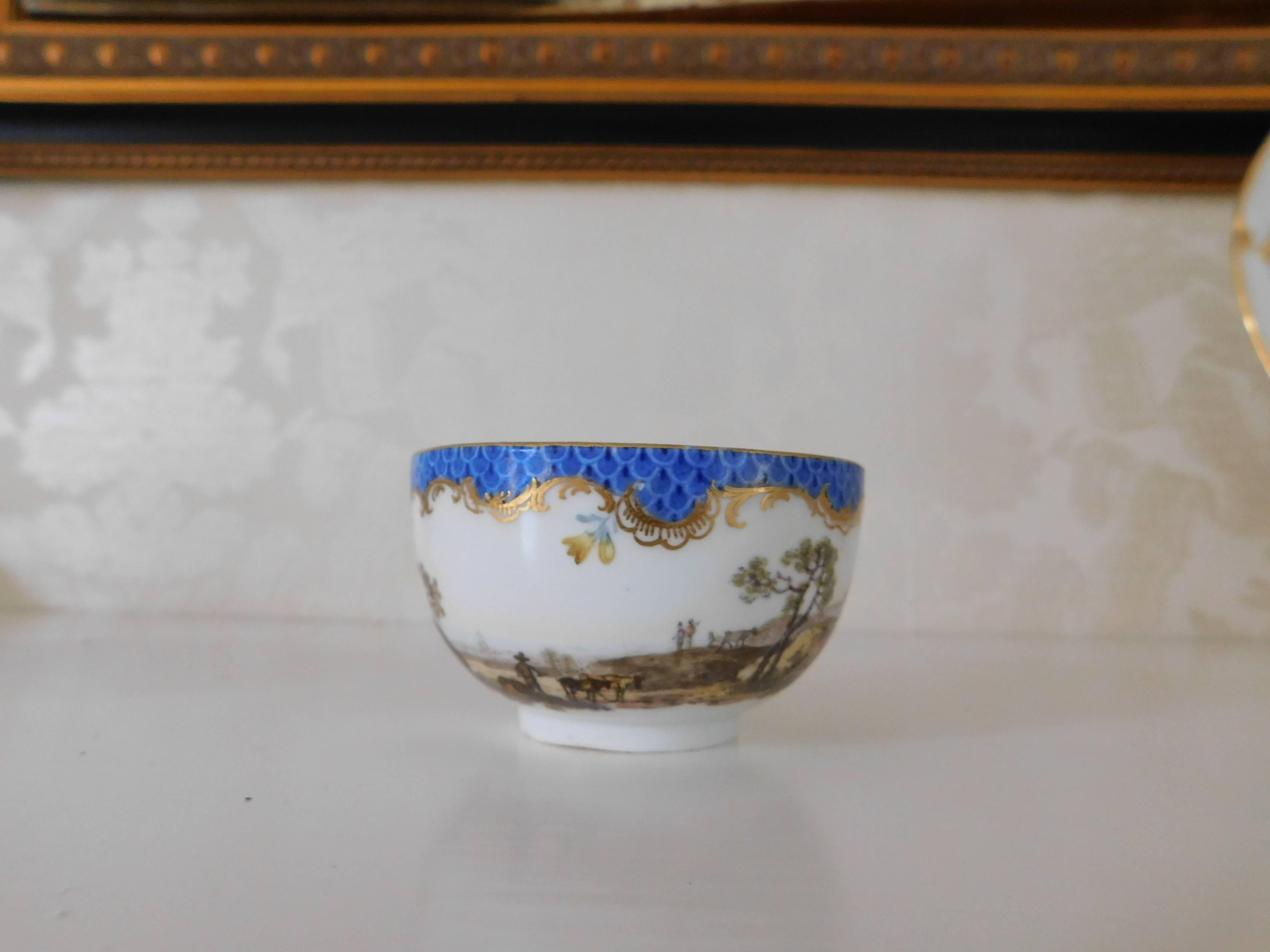 Late 18th Century Meisssen Porcelain Blue Dot Cup And