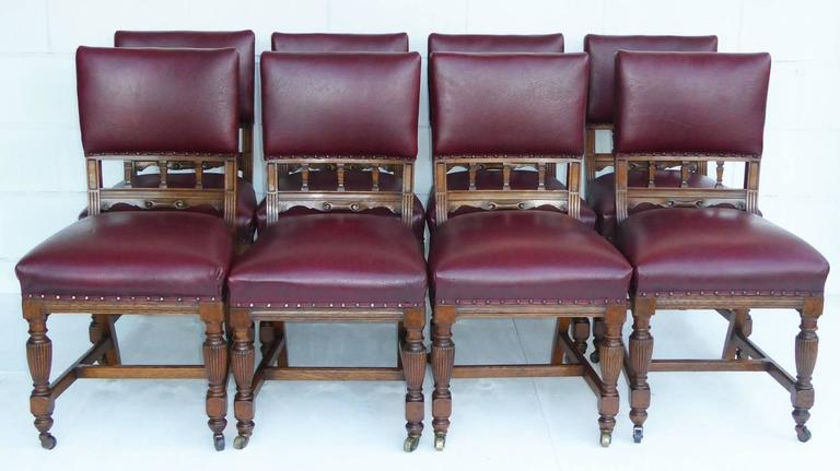 Large Victorian Solid Oak Extending Dining Table And