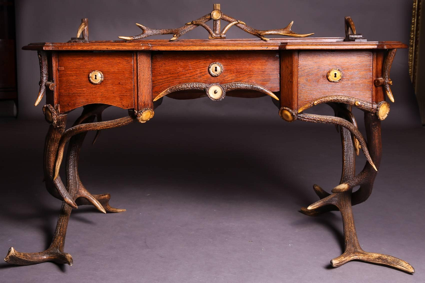 Antik Style Berlin Mid 19th Century Historicism Style Antler Desk With Leather Plate