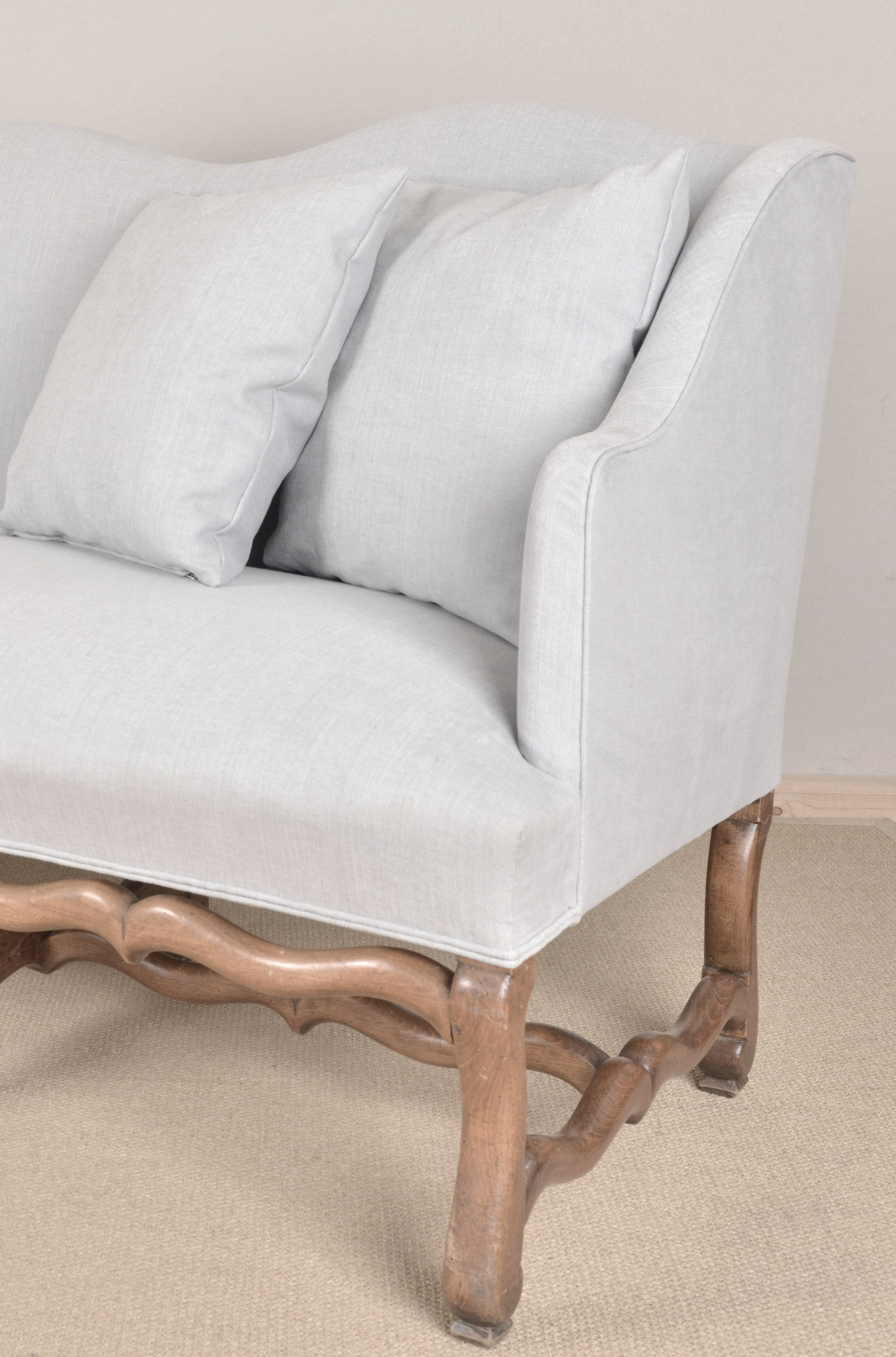 French Late 19th Century Os De Mouton Sofa Recovered In A C C Milano Linen At 1stdibs
