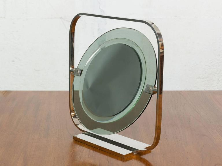 Vintage Chrome And Green Tinted Glass Vanity Mirror