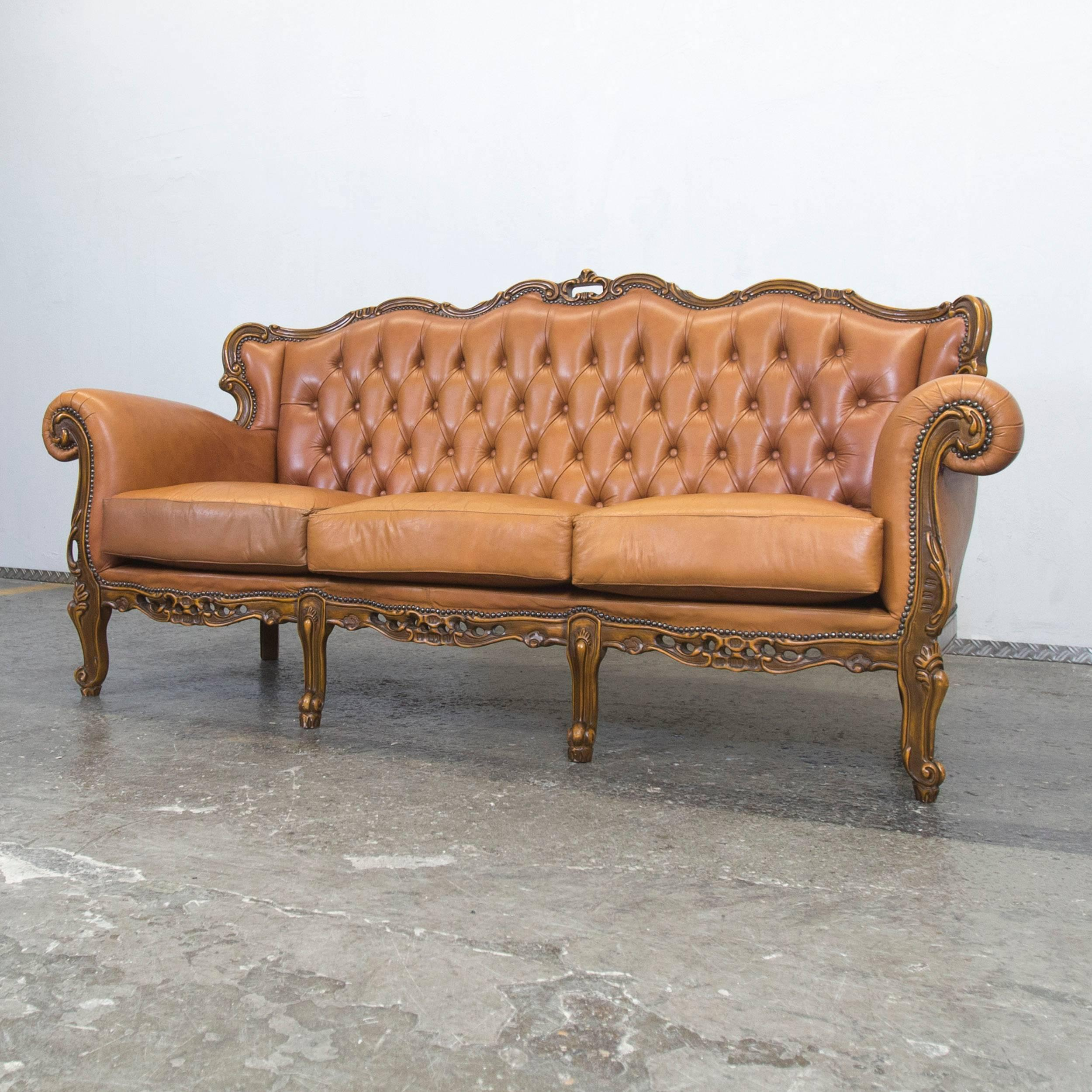Retro Sofa Wood Chesterfield Baroque Leather Sofa Cognac Brown Three Seat Wood Retro Vintage