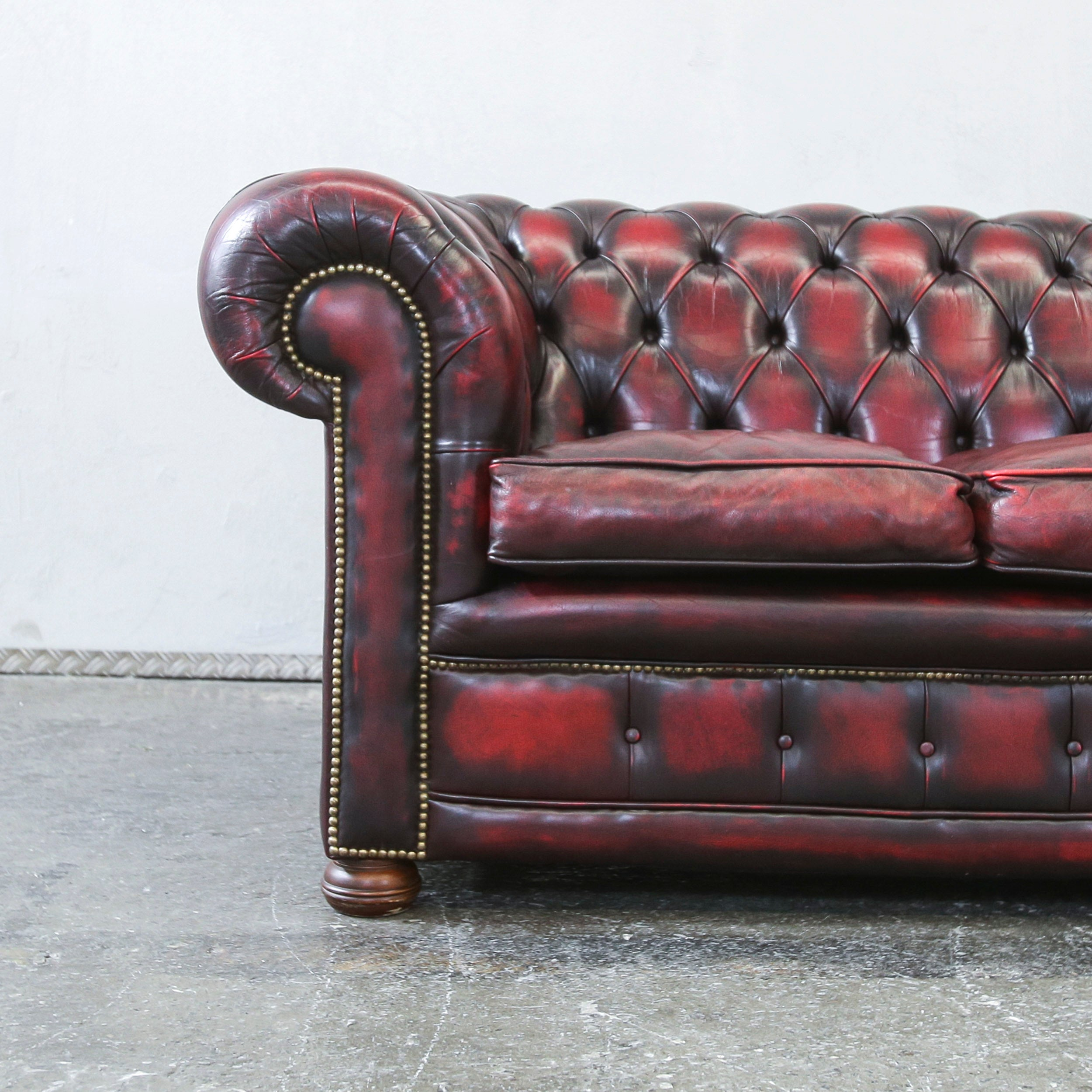 Chesterfield Sofa Leder Rot Chesterfield Leather Sofa Oxblood Red Three Seat Couch Retro Vintage