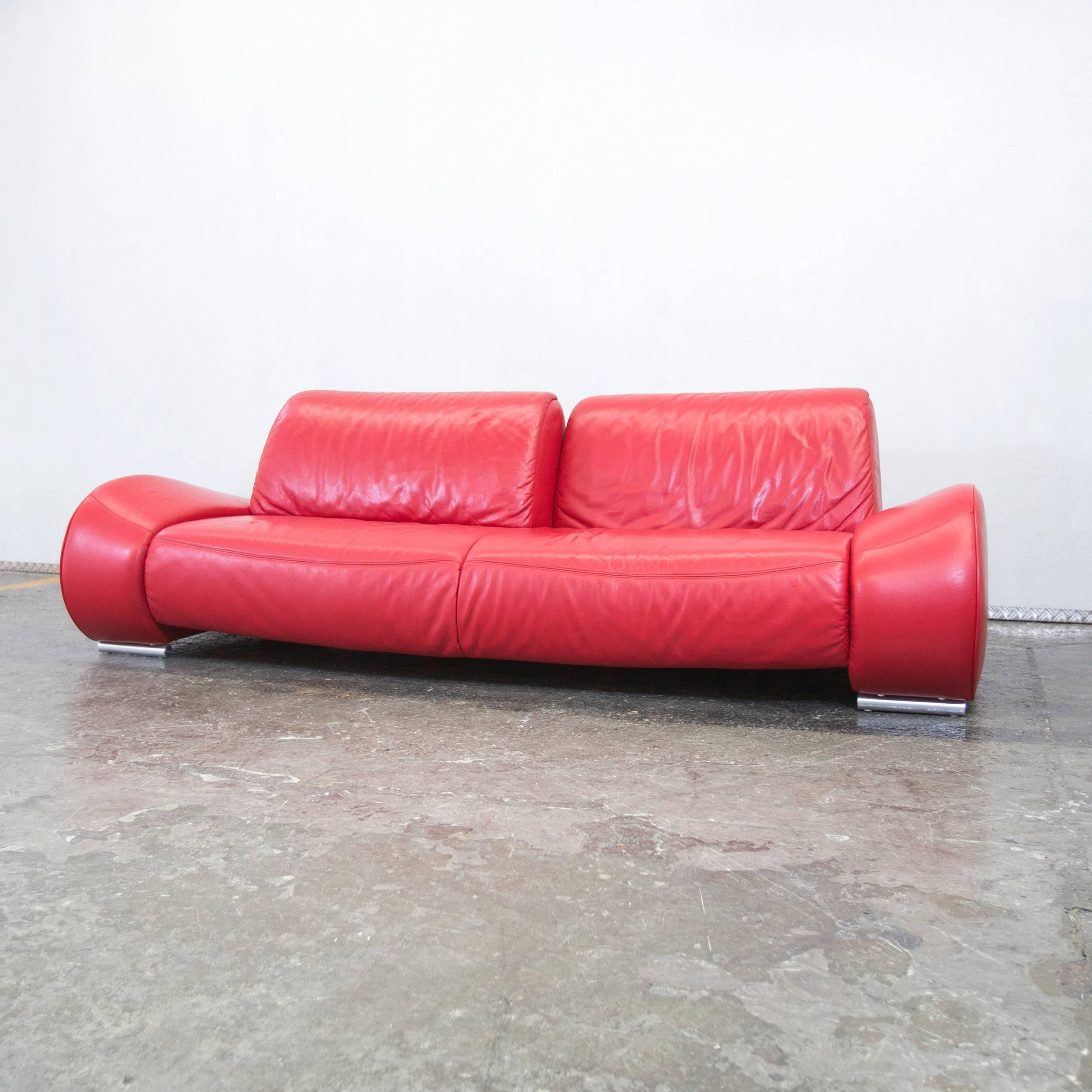Couch Rot Hummel Designer Leather Sofa Red Three Seat Couch Modern Function