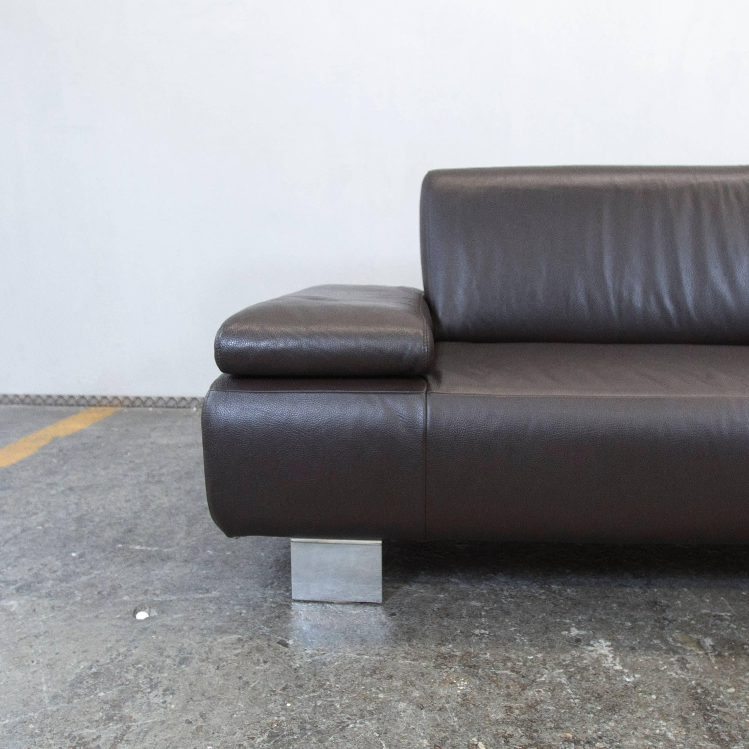 Willi Schillig Ecksofa Longlife Leder Willi Schillig Designer Sofa Brown Mocca Leather Three Seat Couch Function