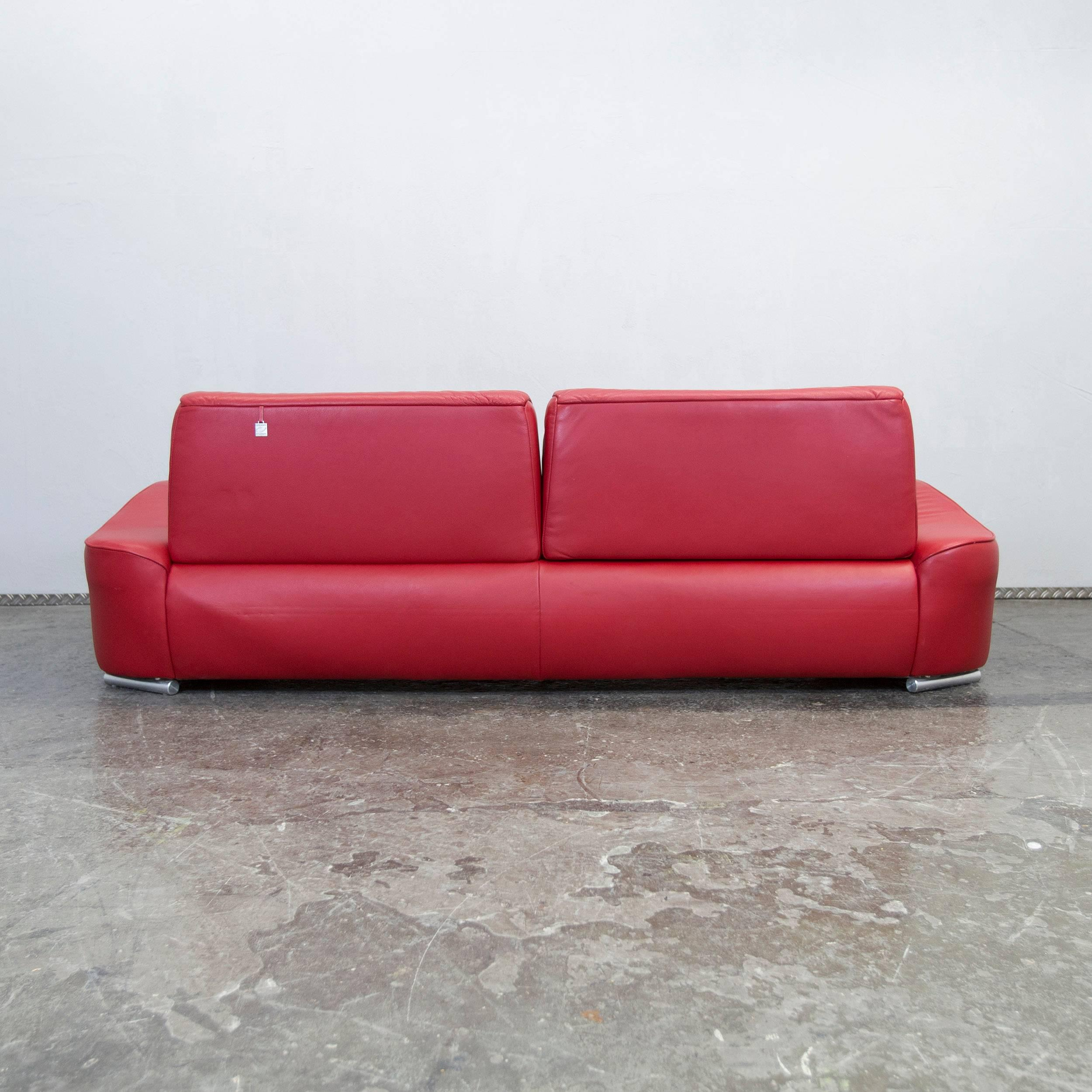 Couch Rot Hummel Designer Leather Sofa Red Three Seat Function Couch Modern
