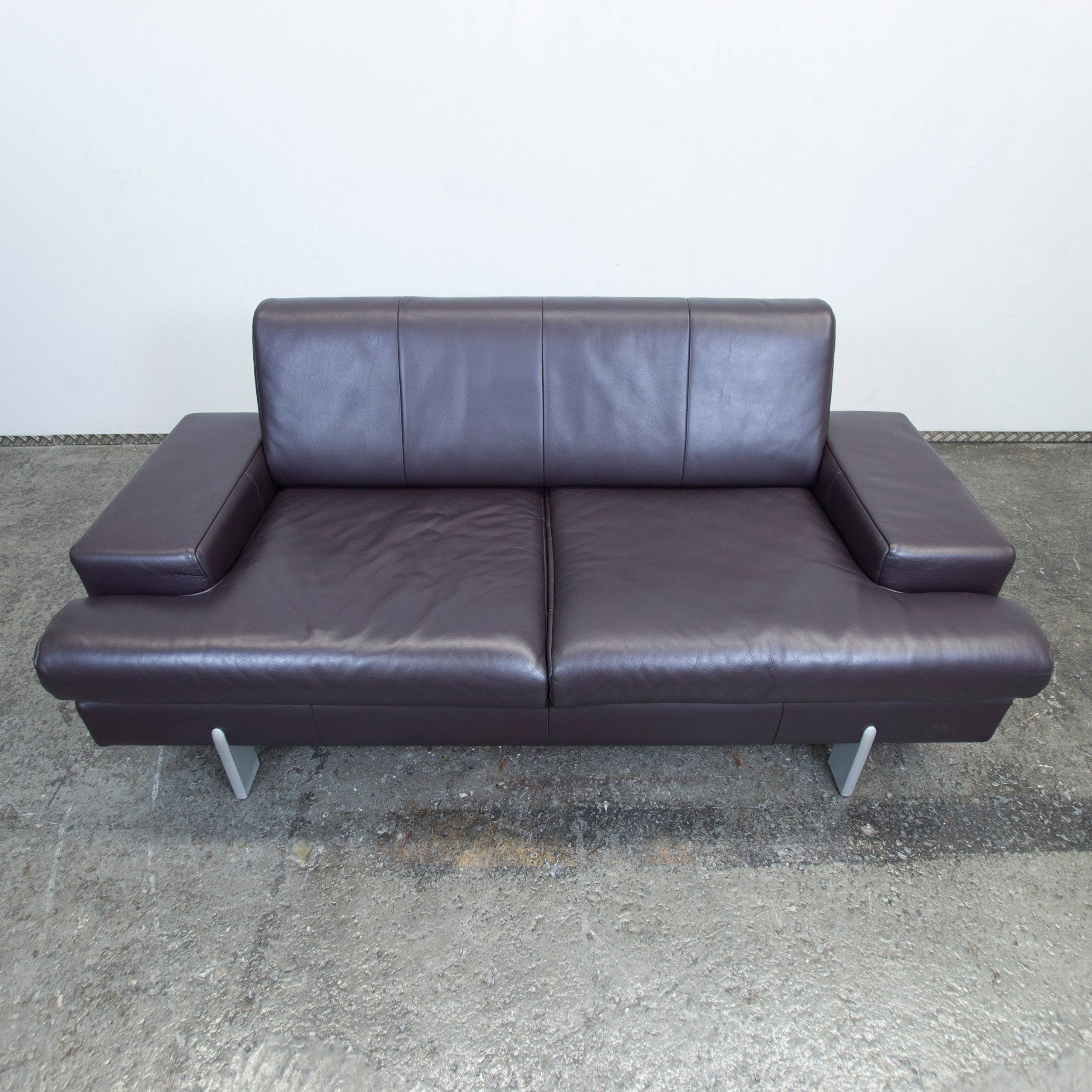 Lila Couch Bmp Rolf Benz Designer Leather Sofa Aubergine Lilac Two Seat Couch Modern