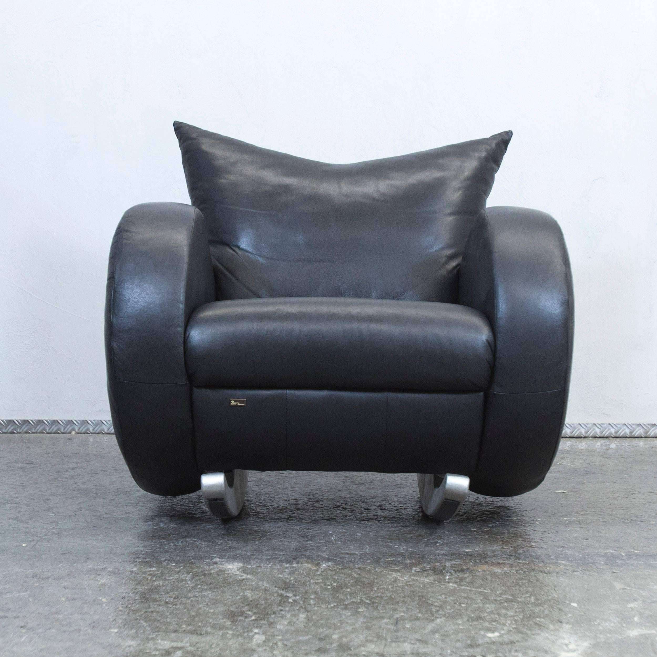 Mexico Chair Schaukelstuhl Bretz Designer Armchair Black Leather One Seat Couch Rocking Chair Modern