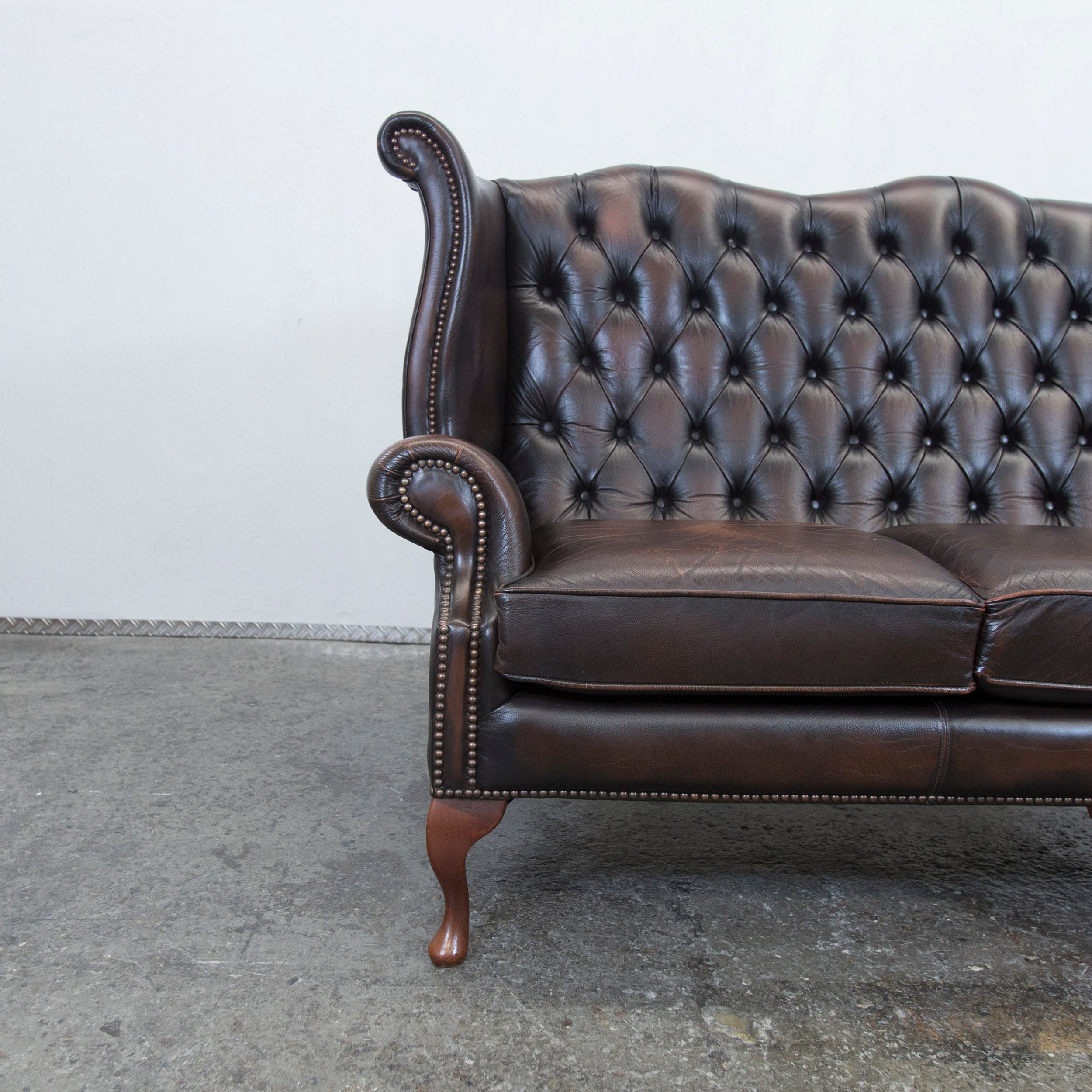 Einsitzer Sofa Centurion Chesterfield Leather Sofa Brown Queen Anne Vintage Retro Three Seat