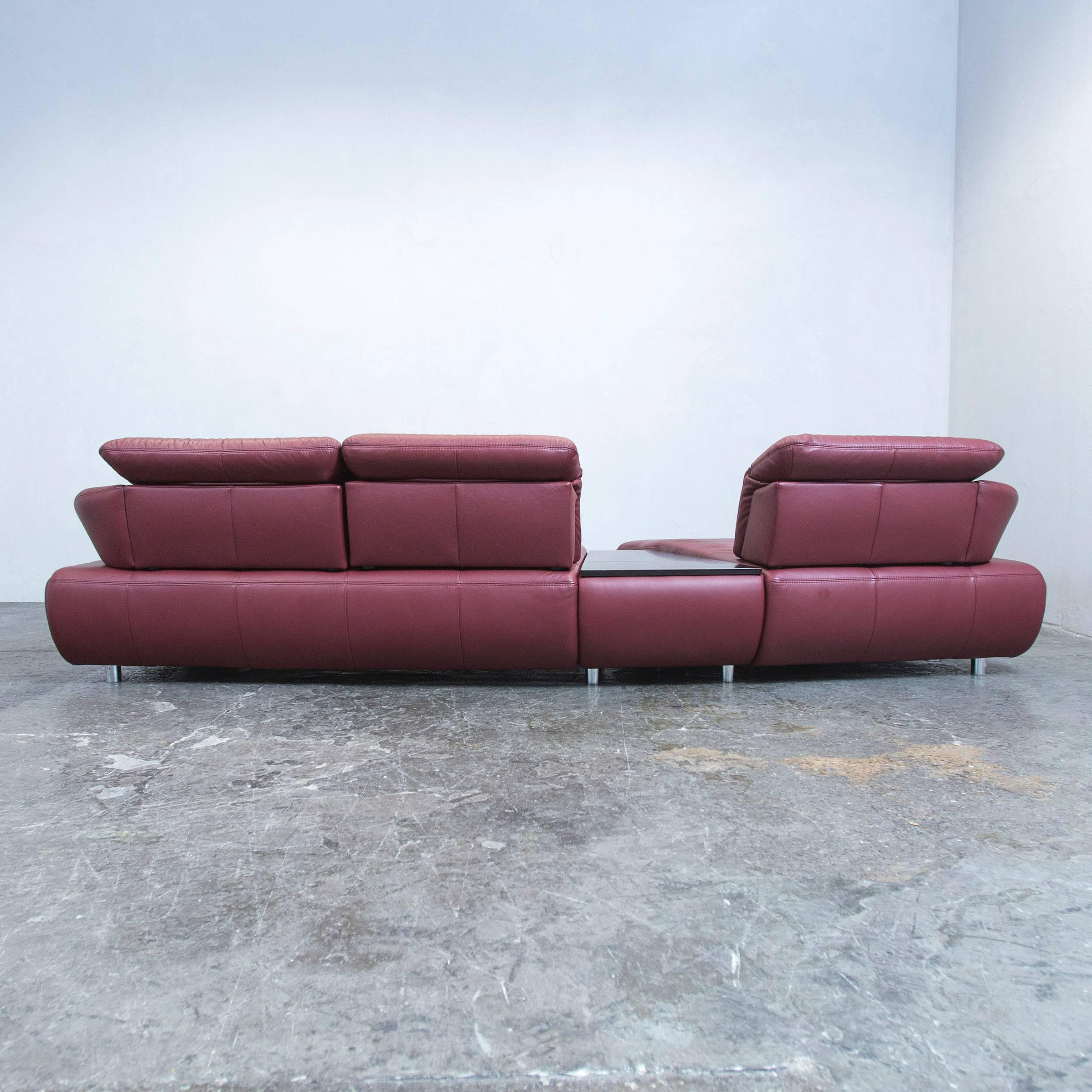 Recamiere Design Designer Corner Sofa Bordeaux Red Leather Couch Function Recamiere Modern