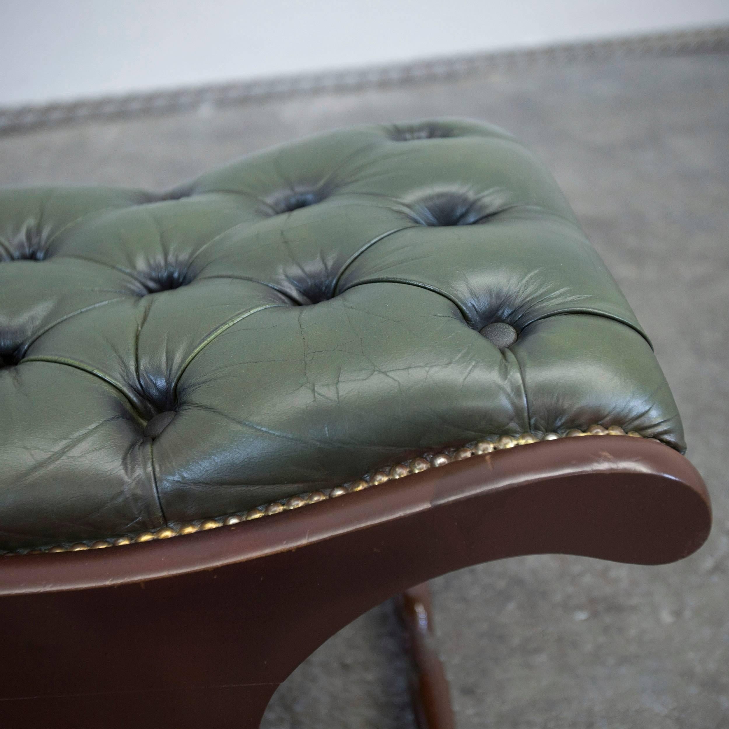 Pouf Leder Chesterfield Leather Footstool Green Pouf Vintage Retro Wood