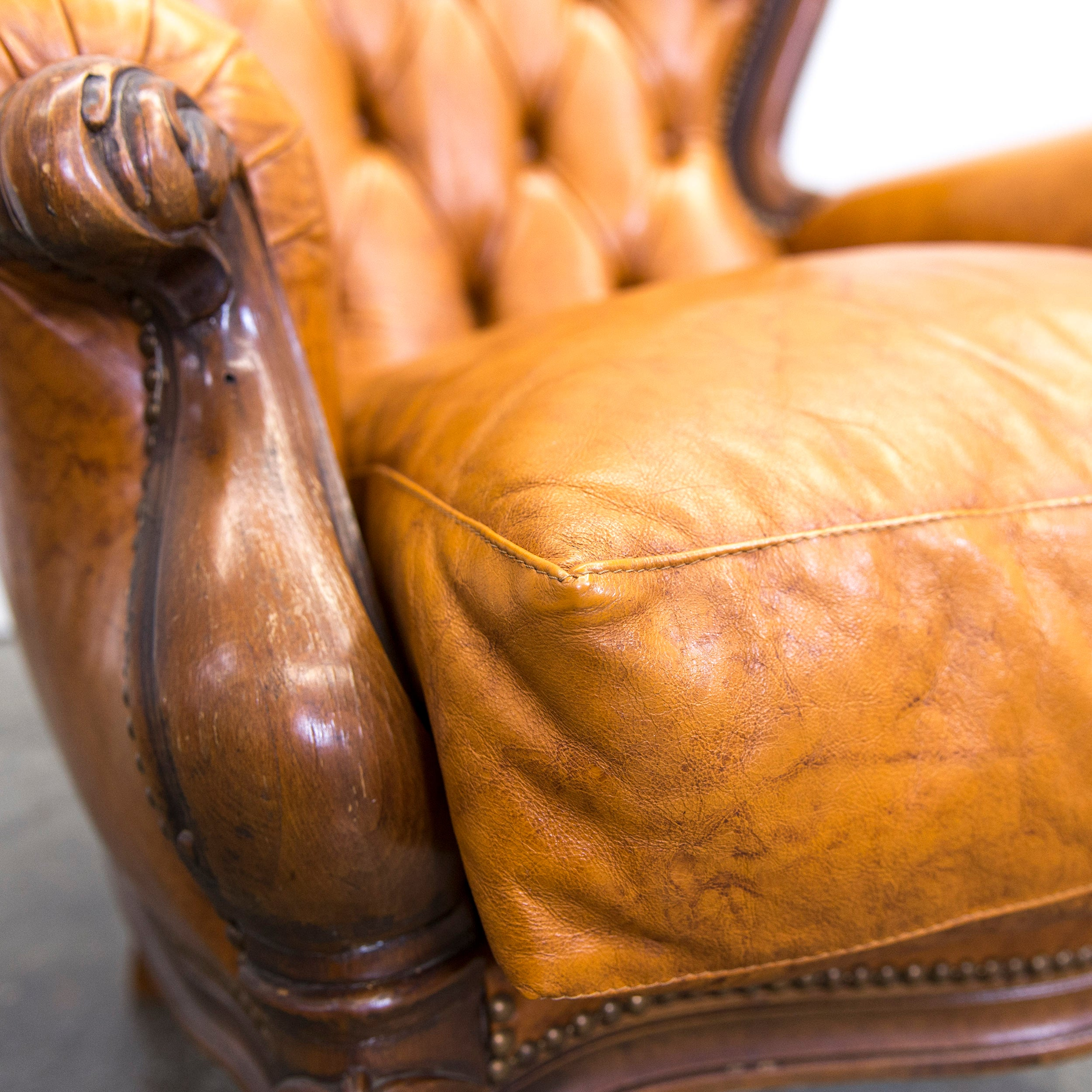 Sessel Baseball Chesterfield Leather Armchair Cognac Brown One Seat Couch Wood Retro Vintage