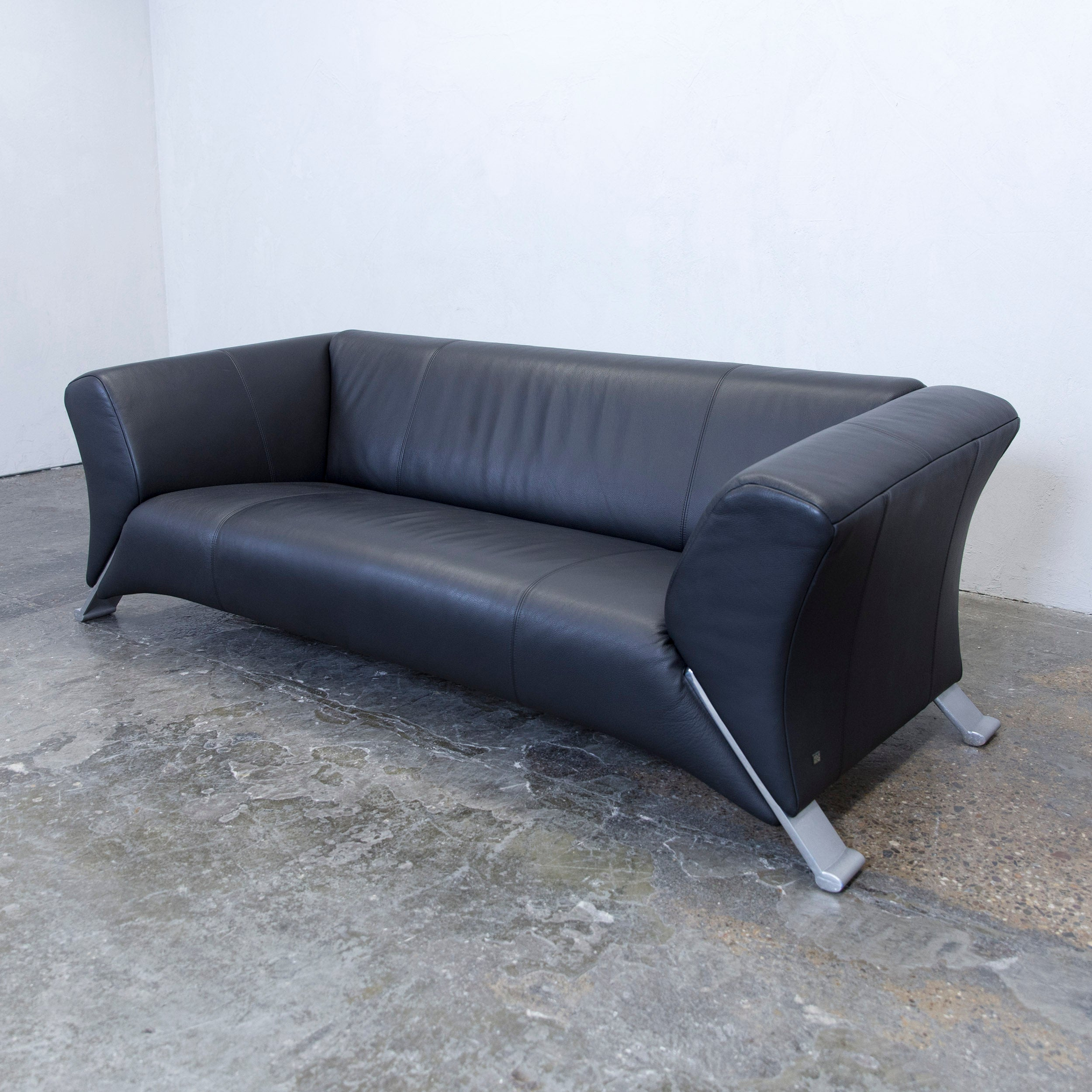 Benz Couch Rolf Benz 322 Designer Leather Sofa Black Three Seat Couch Modern