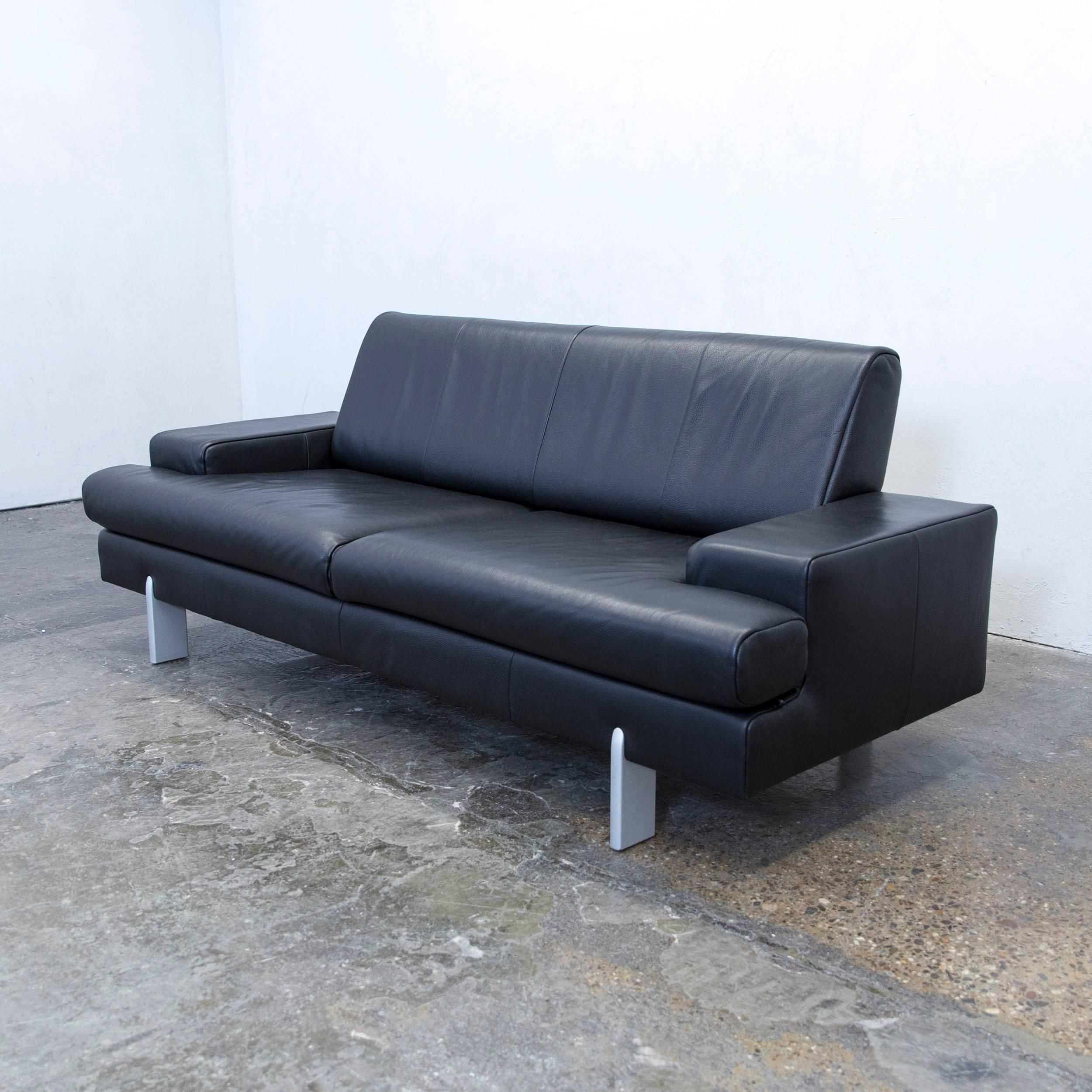 Design Sofa Rolf Benz Rolf Benz Bmp Designer Sofa Leather Black Three-seat Couch