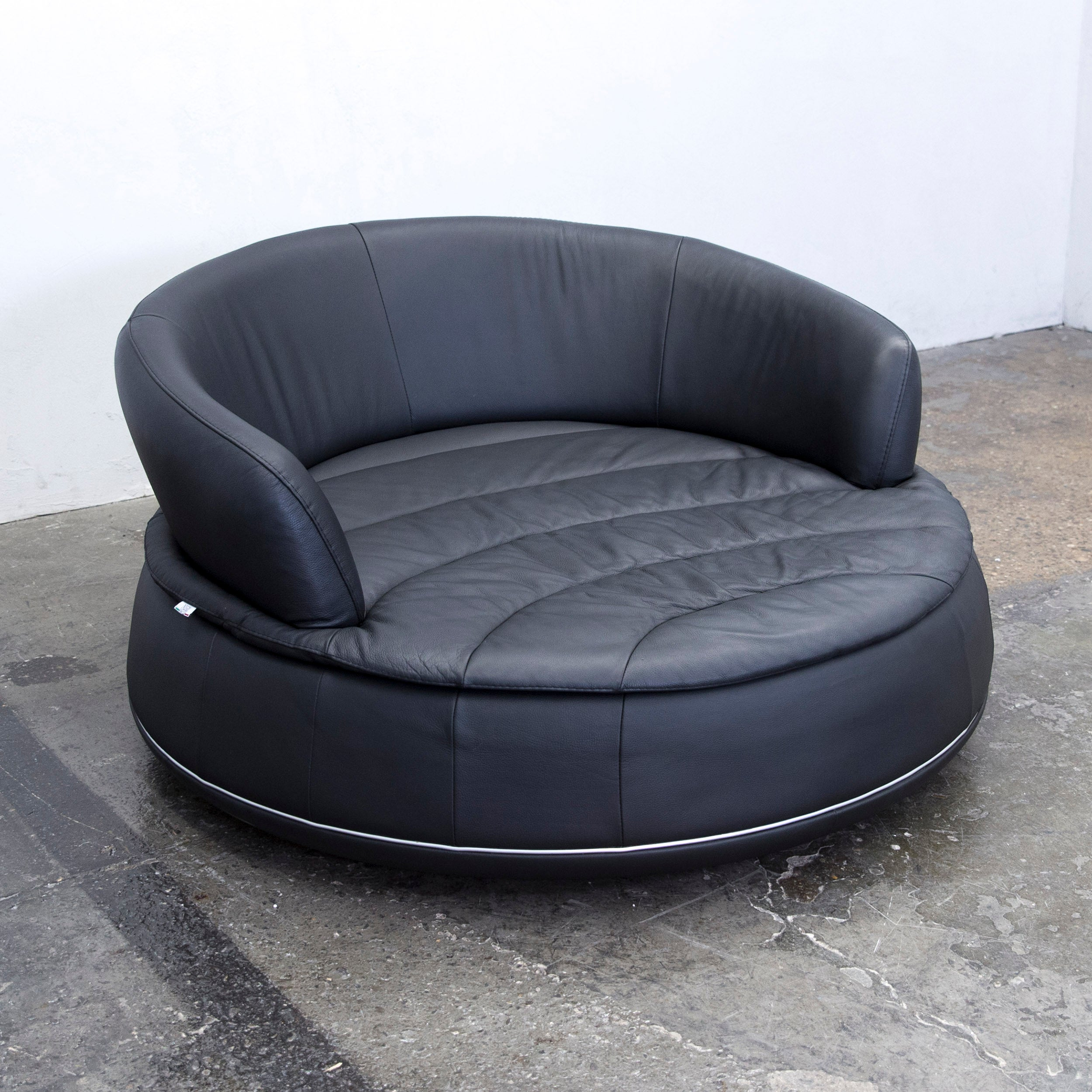 Sofa Rund Leder Nieri Espace Loveseat Designer Sofa Anthrazit Black Two Seat Round Lounge Couch