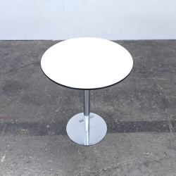 Designer Table White Wood Chrome Swiss Air Lounge Bistro Round