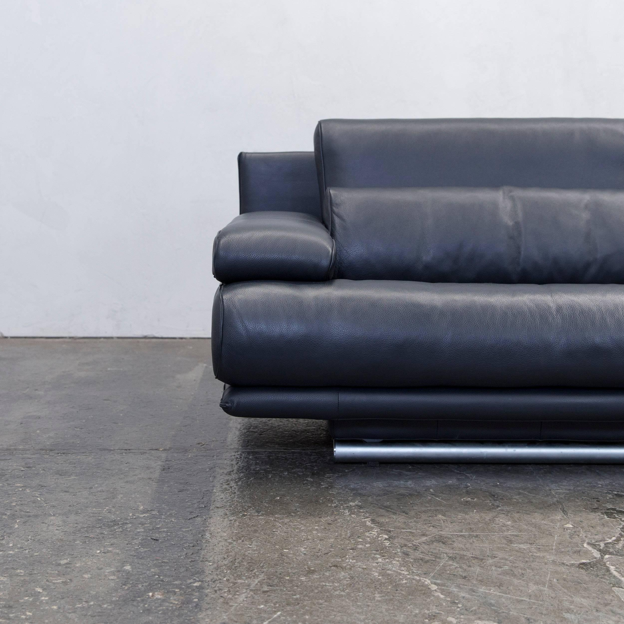Couch Zweisitzer Rolf Benz 6500 Leather Sofa Black Two Seat Couch Modern