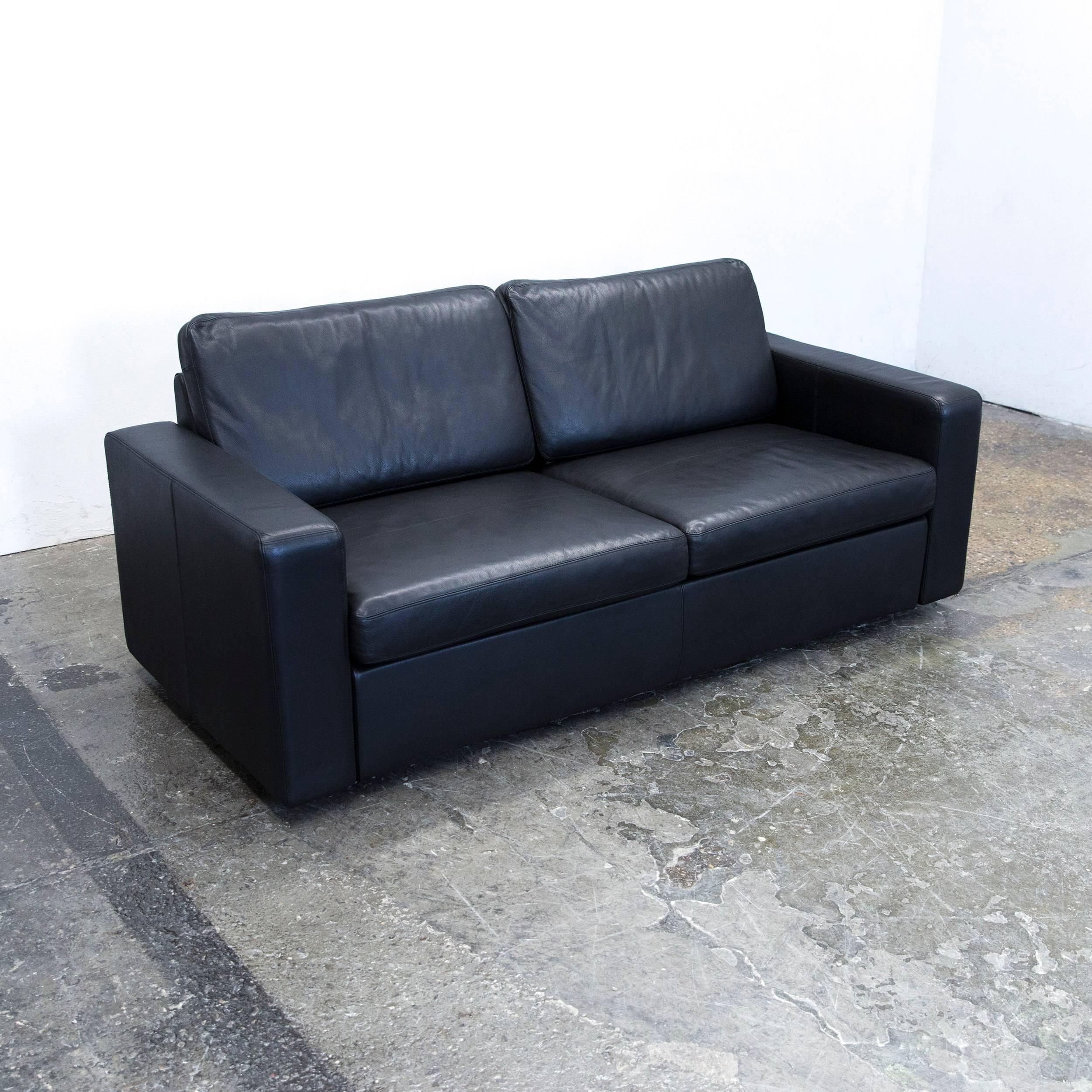 Schlafsofa Cor Cor Conseta Designer Sofa Leather Black Sleepsofa Three Seat Couch Modern