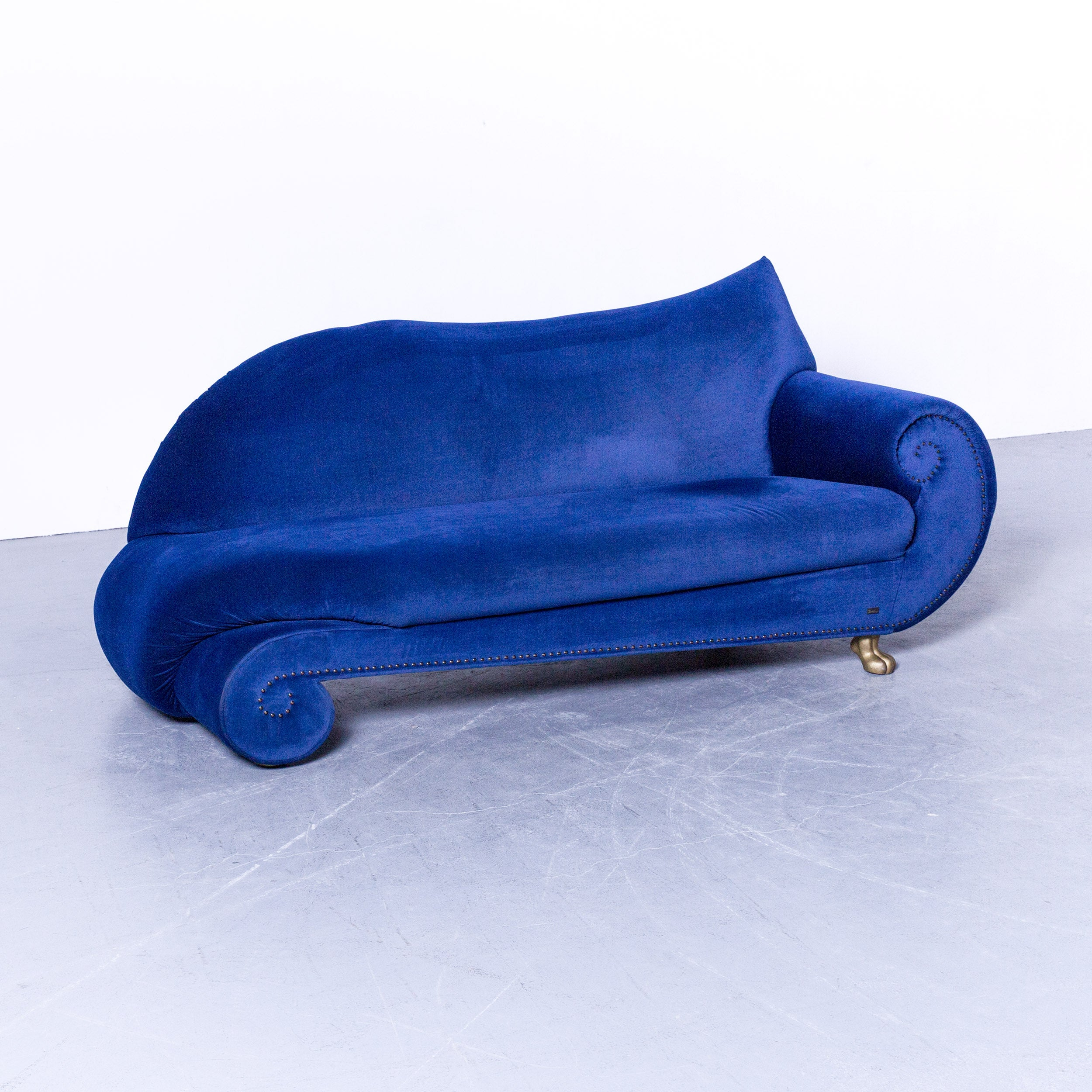 Brez Sessel Bretz Gaudi Designer Sofa Velours Fabric Blue Three Seat Gold Couch Elegant