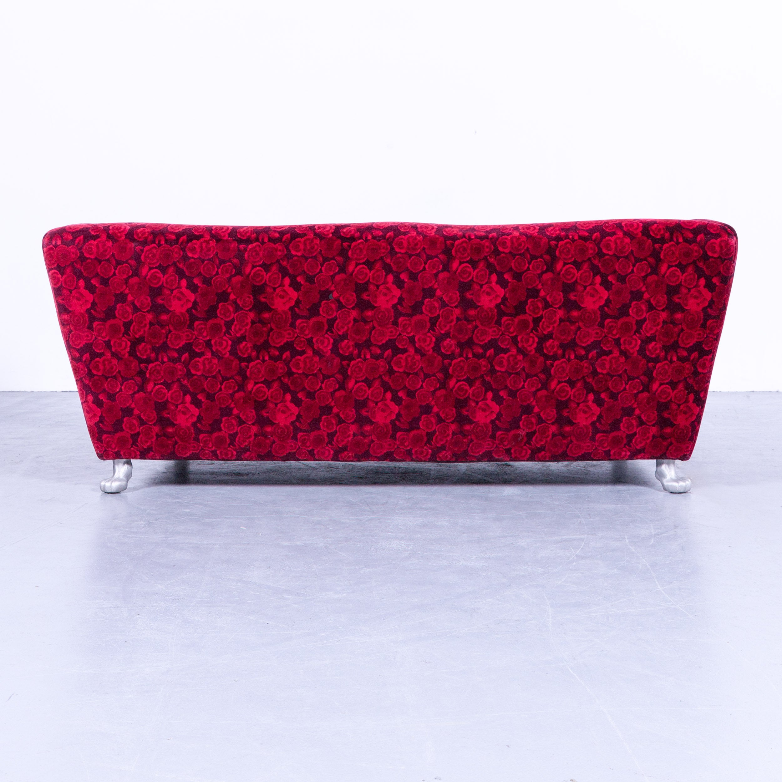 Bretz Sofa Bretz Monster Sofa Red Fabric Three Seat Couch Rose Pattern Couch