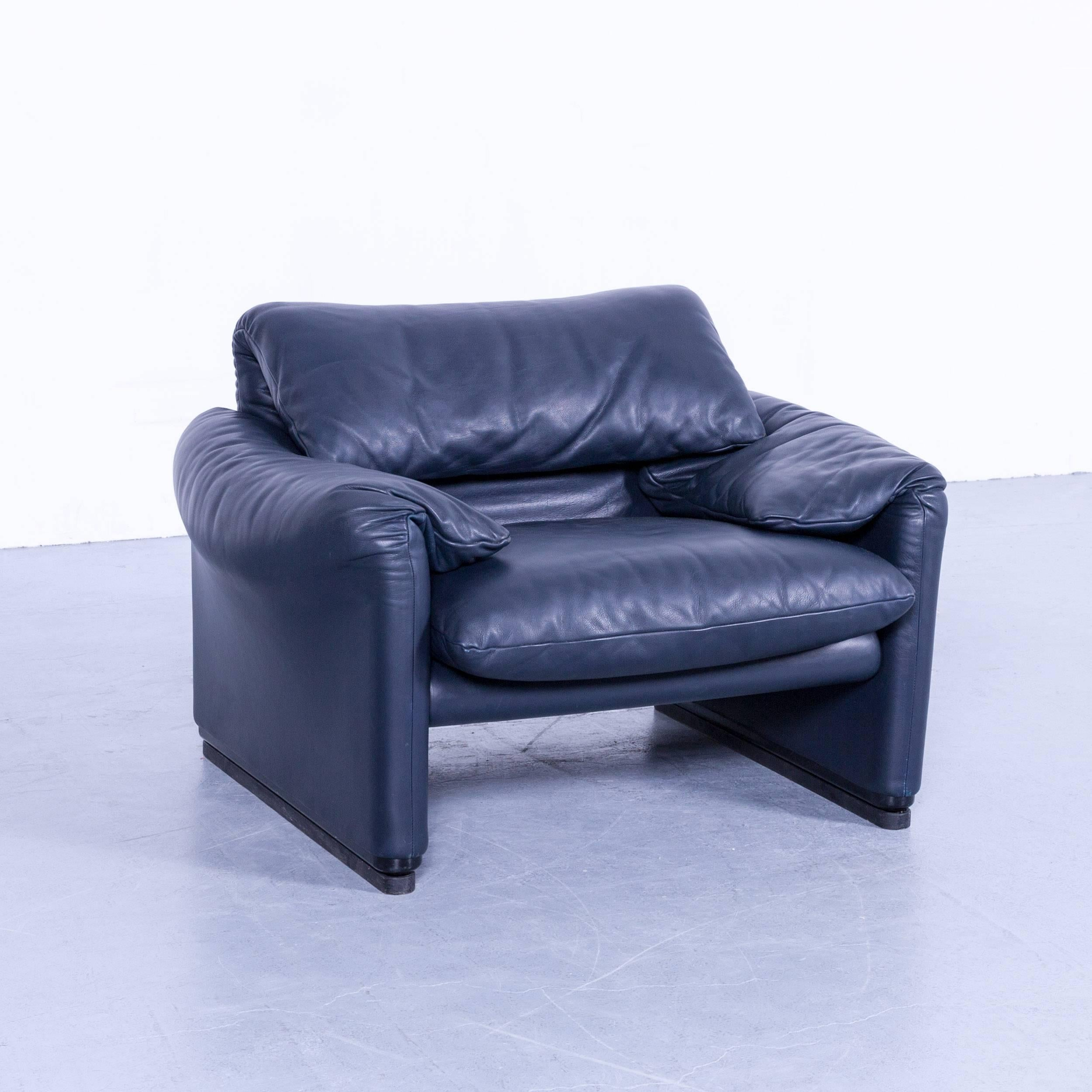 Maralunga Sessel Cassina Maralunga Blue Leather Armchair Stool Set By Vico Magistretti Function