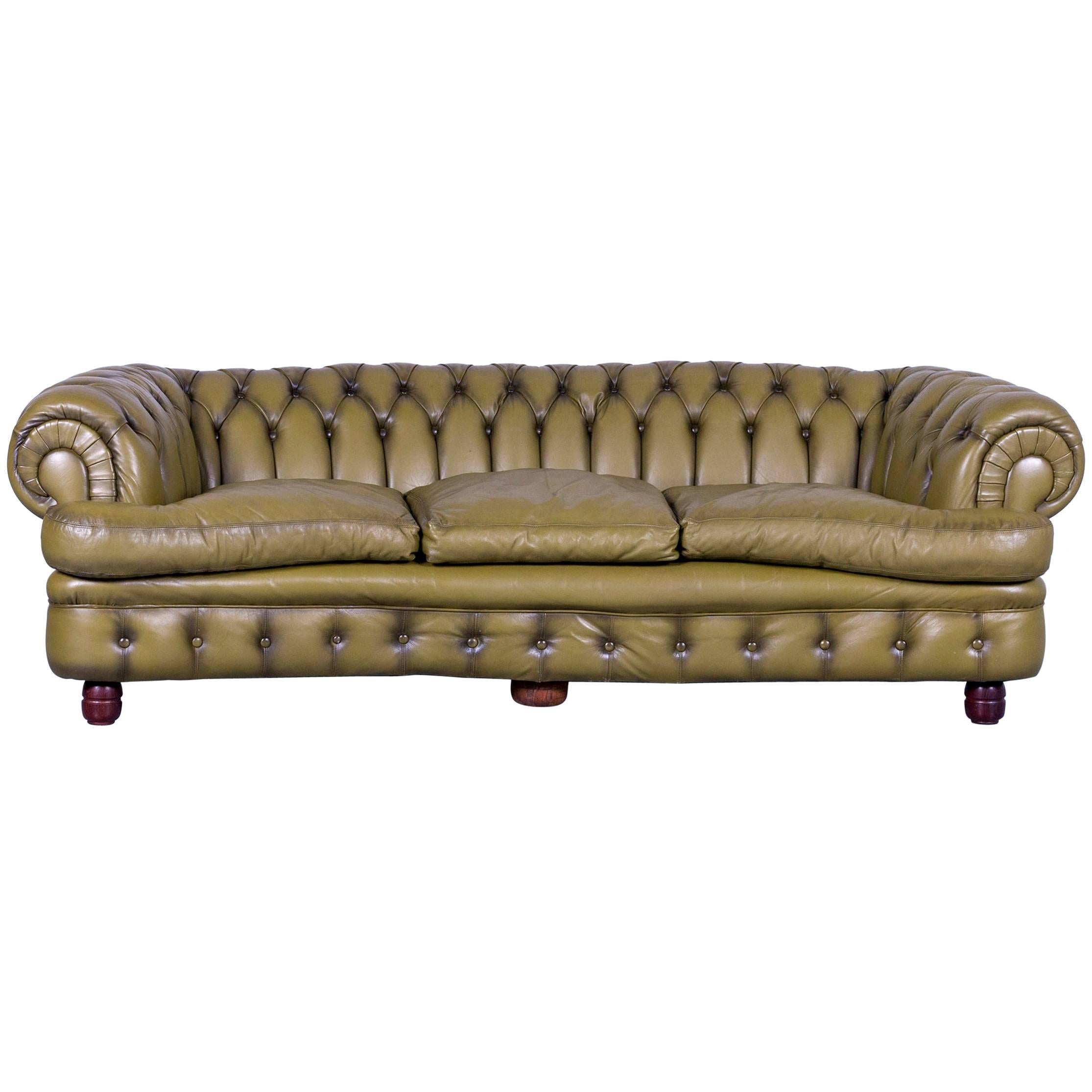 Retro Sofa Leather Chesterfield Sofa Green Three Seat Leather Couch Vintage Retro Curved
