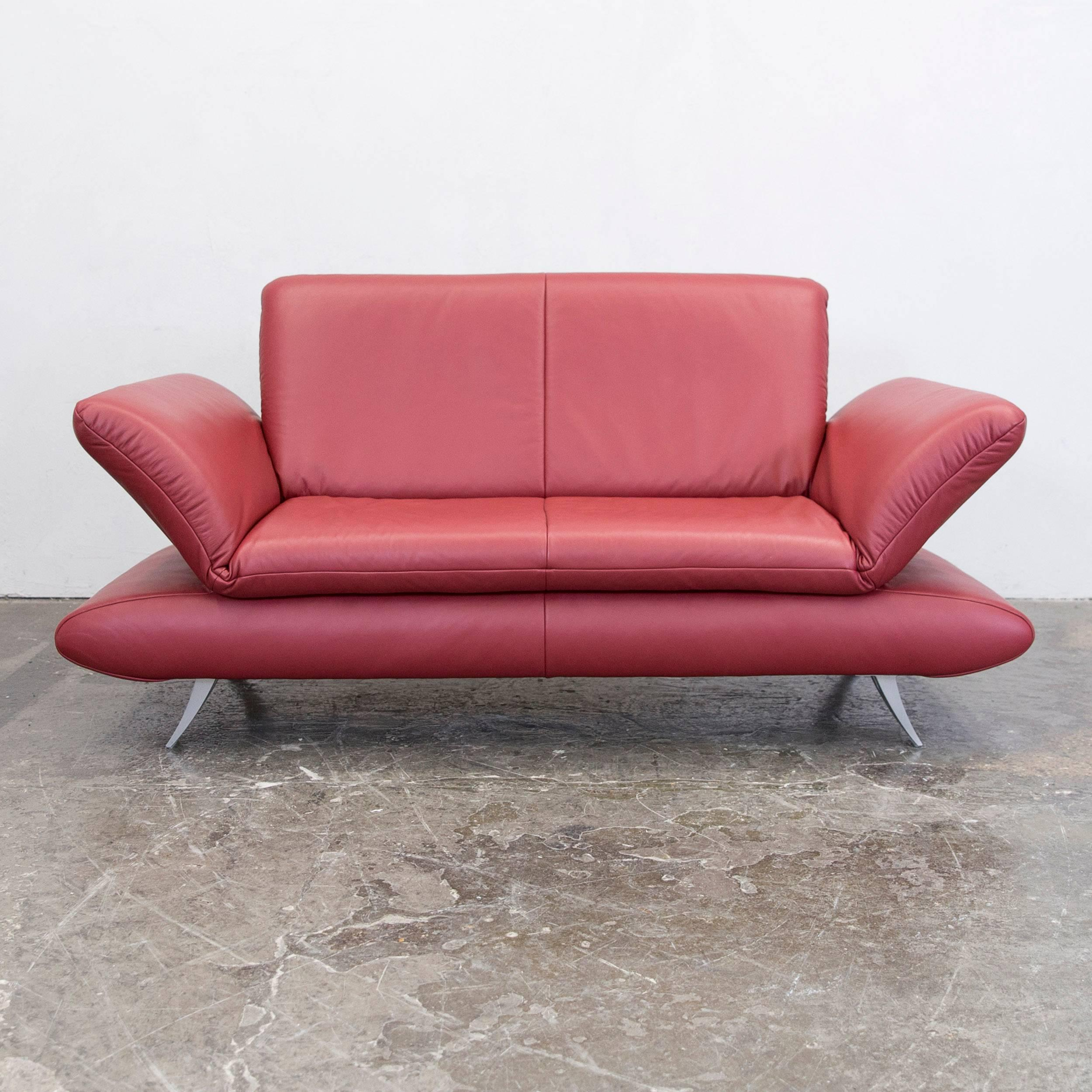 Koinor Sessel Silencio Koinor Rossini Designer Sofa Red Full Leather Two Seat Function Modern