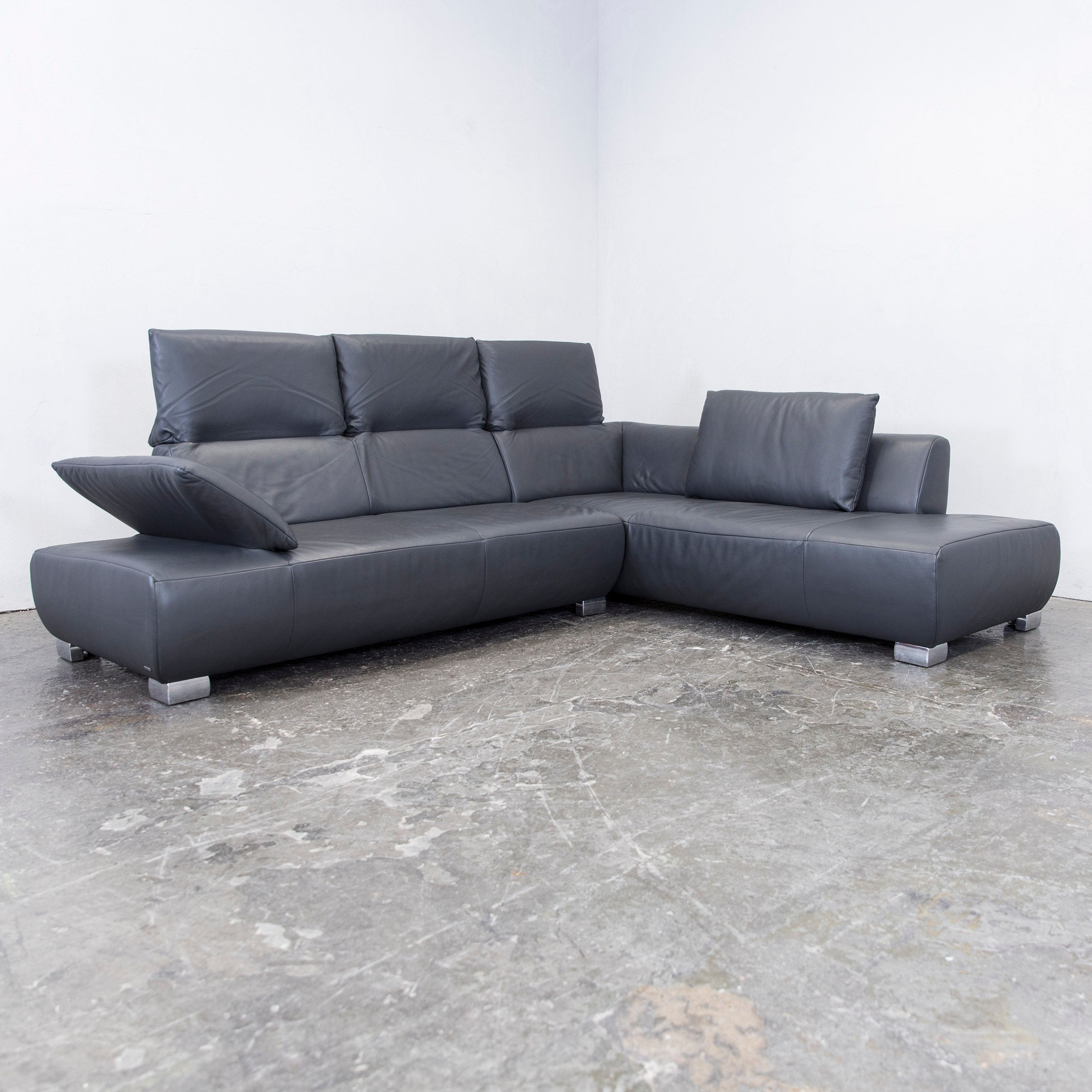 Couch Eck Koinor Volare Leather Corner Sofa Grey Anthracite Function Couch