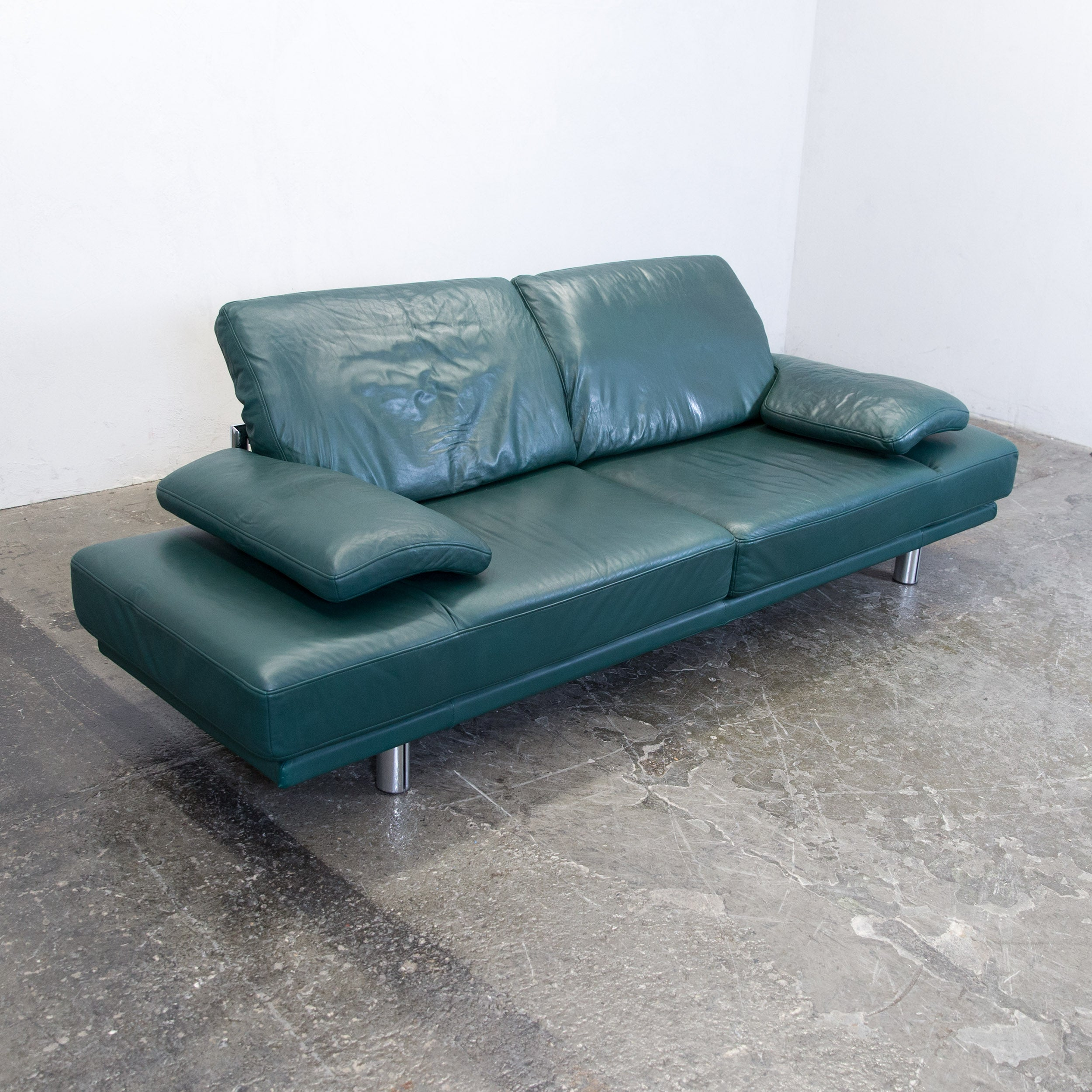 Rolf Benz Couch Rolf Benz 2400 Designer Sofa Leather Green Relax Three Seat Couch Recliner