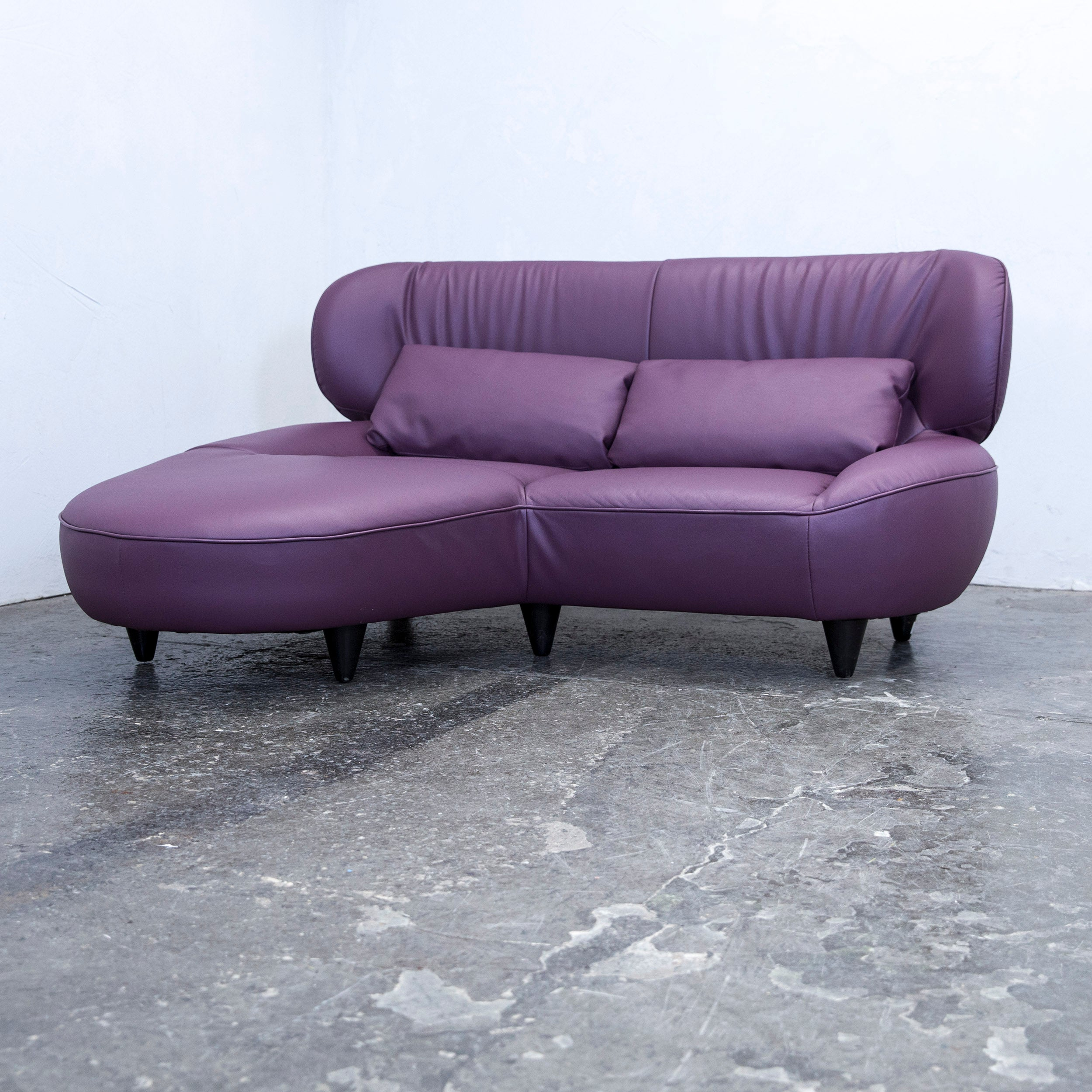 Couch Lila Designer Corner Sofa Set Footstool Lilac Two-seat Couch Modern Faux Leather For Sale At 1stdibs