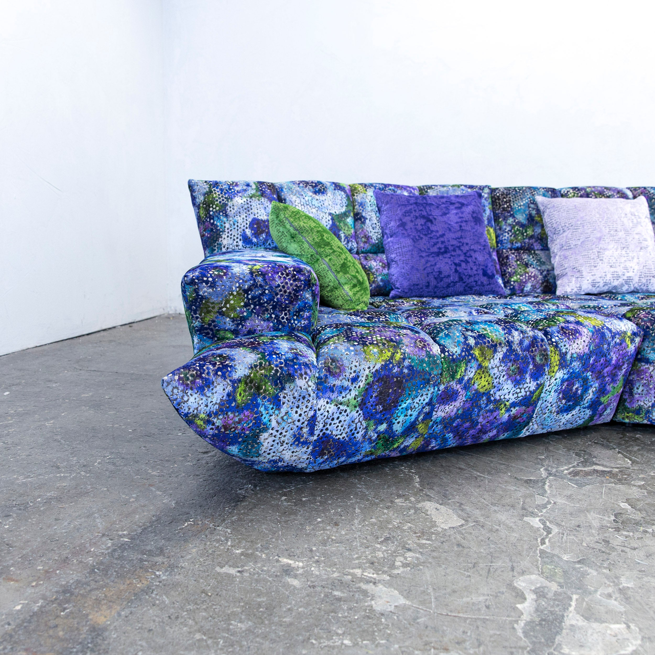 Couch Lila Bretz Cloud 7 Designer Cornersofa Blue Lilac Green Fabric Couch Modern Pattern At 1stdibs