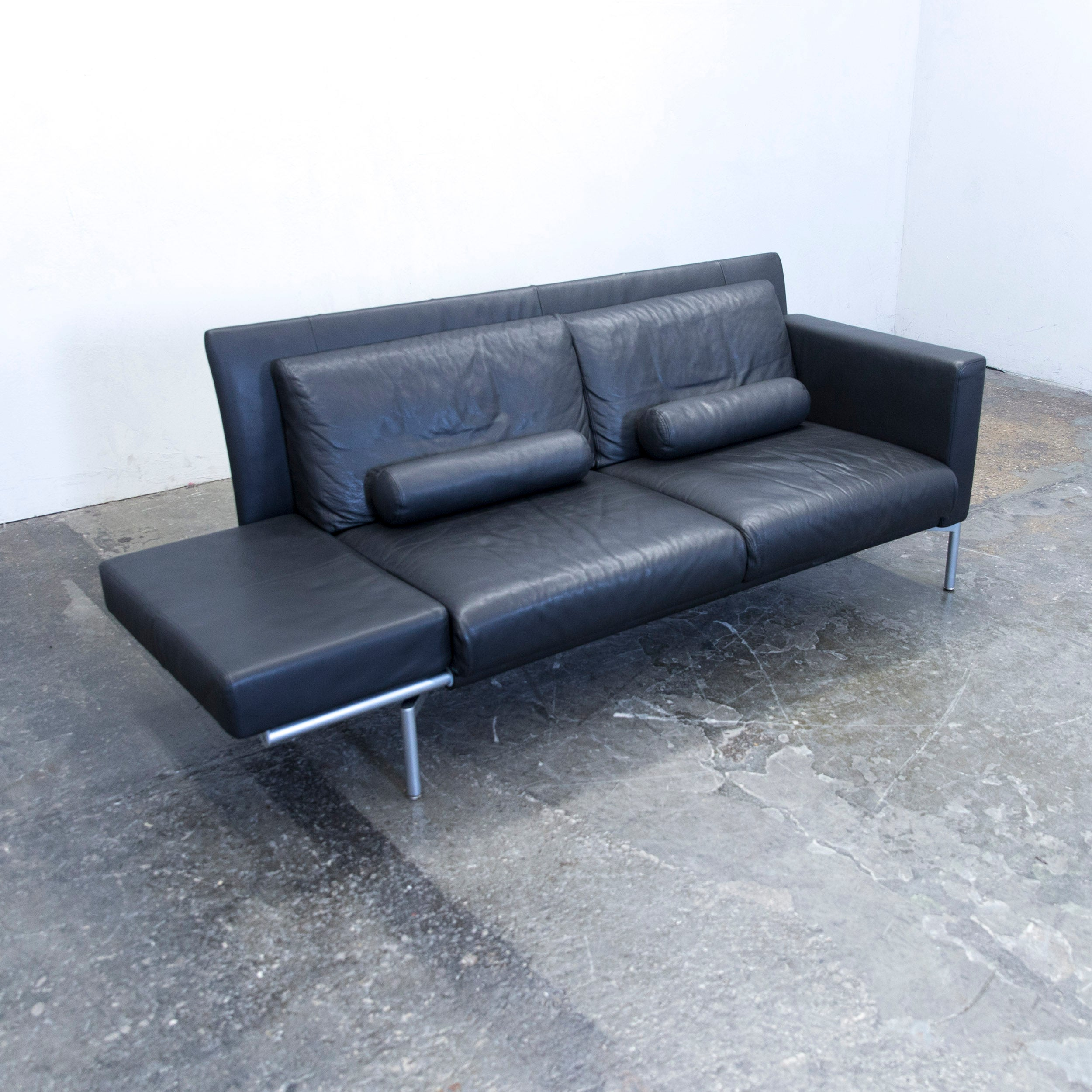Walter Knoll Sofa Walter Knoll Jason Designer Sofa Leather Black Two Seat Couch Modern Function