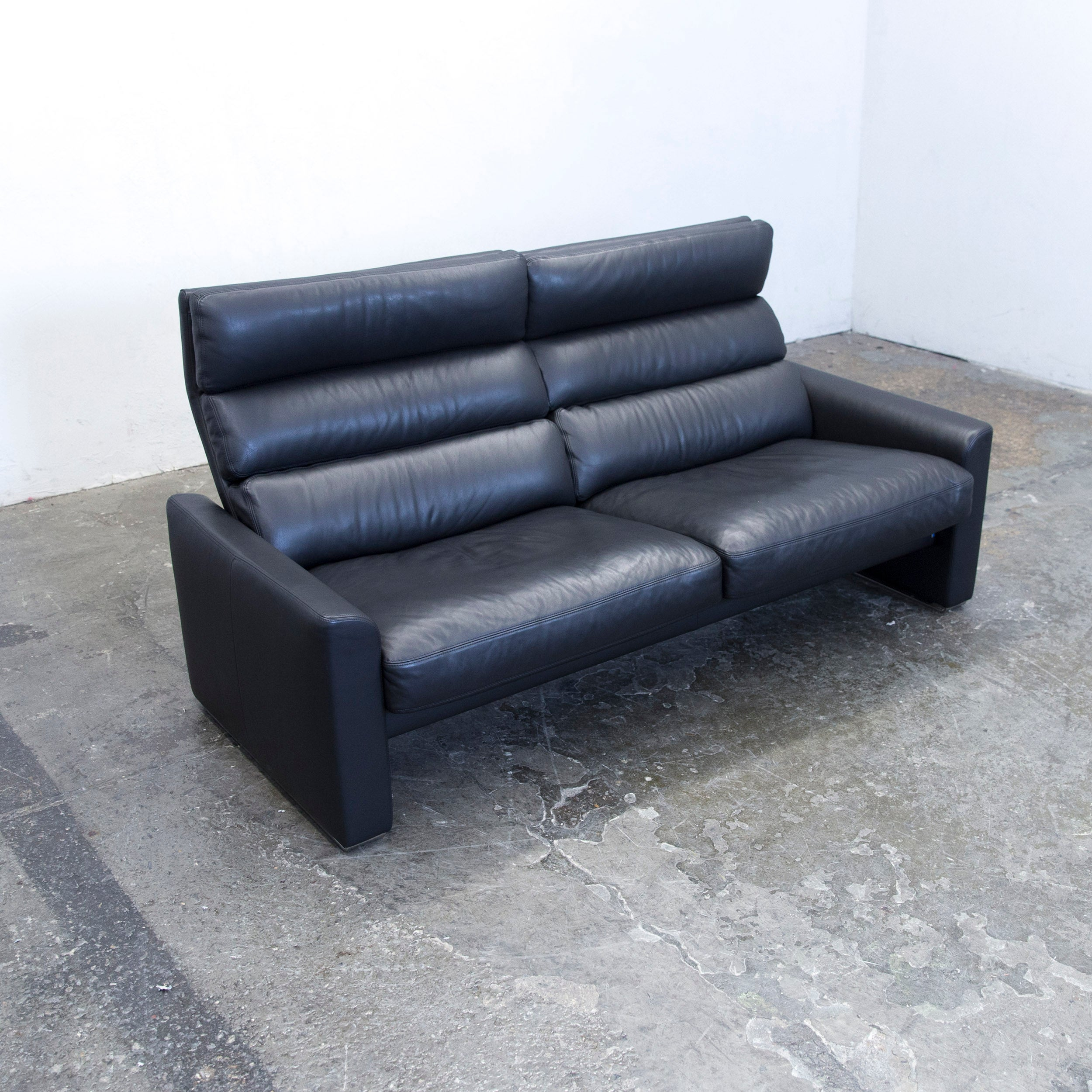 Erpo Soho Designer Sofa Leather Black Two Seat Couch Modern Function For Sale At 1stdibs