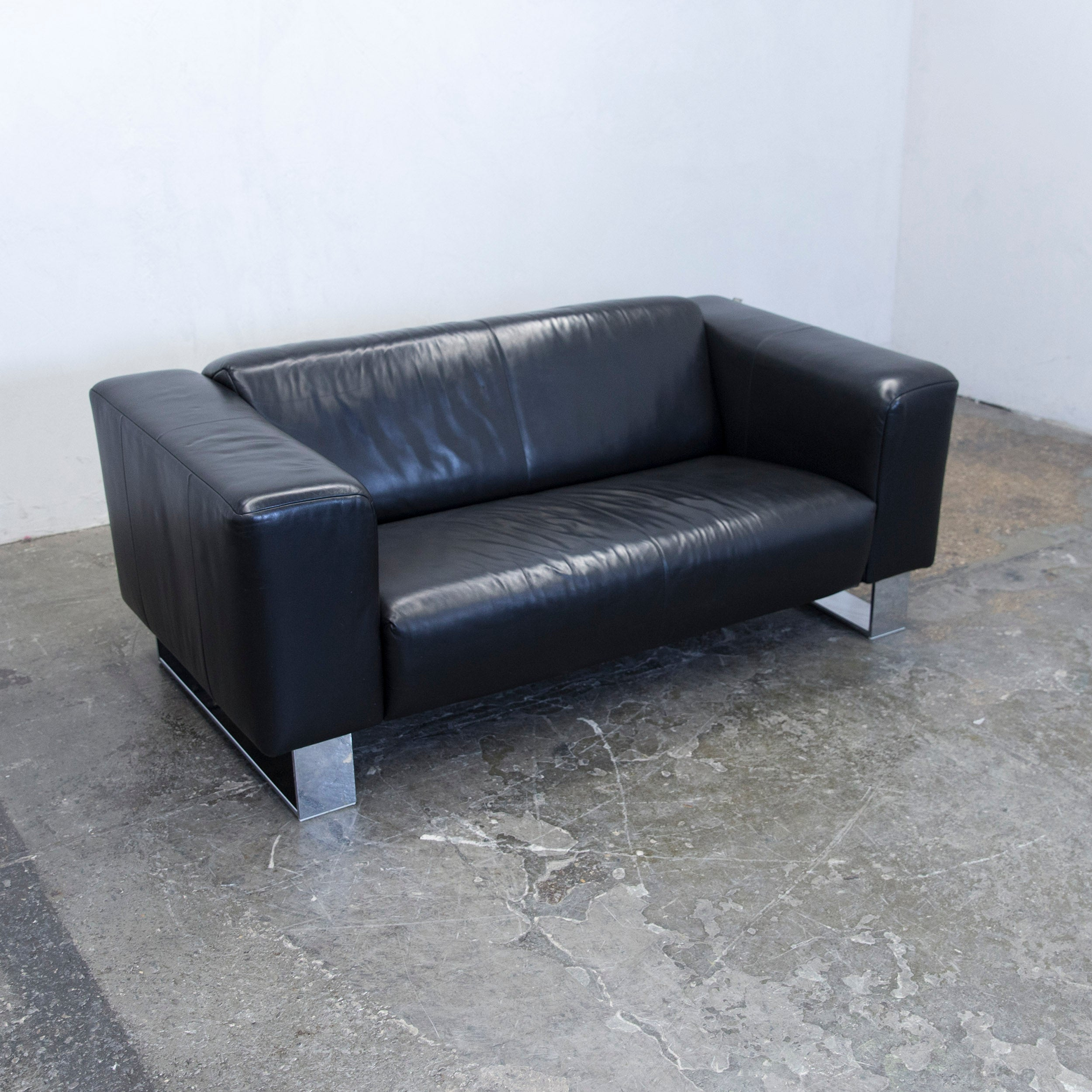 Benz Couch Rolf Benz Bmp Designer Sofa Leather Black Two Seat Couch Modern